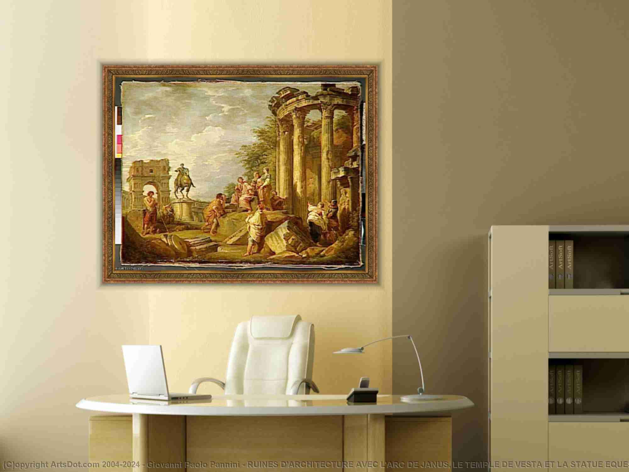 Giovanni Paolo Pannini - 廃墟 D-ARCHITECTURE AVECの L-ARC デ ヤヌス , レ テンプル・ドゥ ベスタ ら ラ 像 平等 デ マルク AURELE