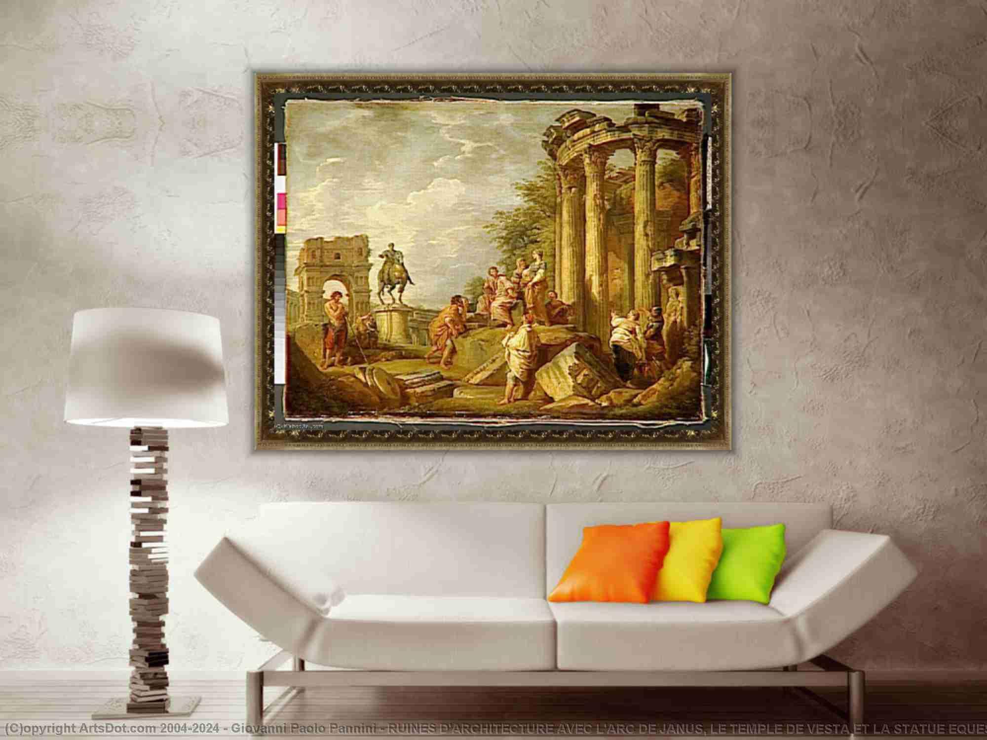 Giovanni Paolo Pannini - RUINES D-ARCHITECTURE AVEC L-ARC DE JANUS, LE TEMPLE DE VESTA ET LA STATUE EQUESTRE DE MARC AURELE