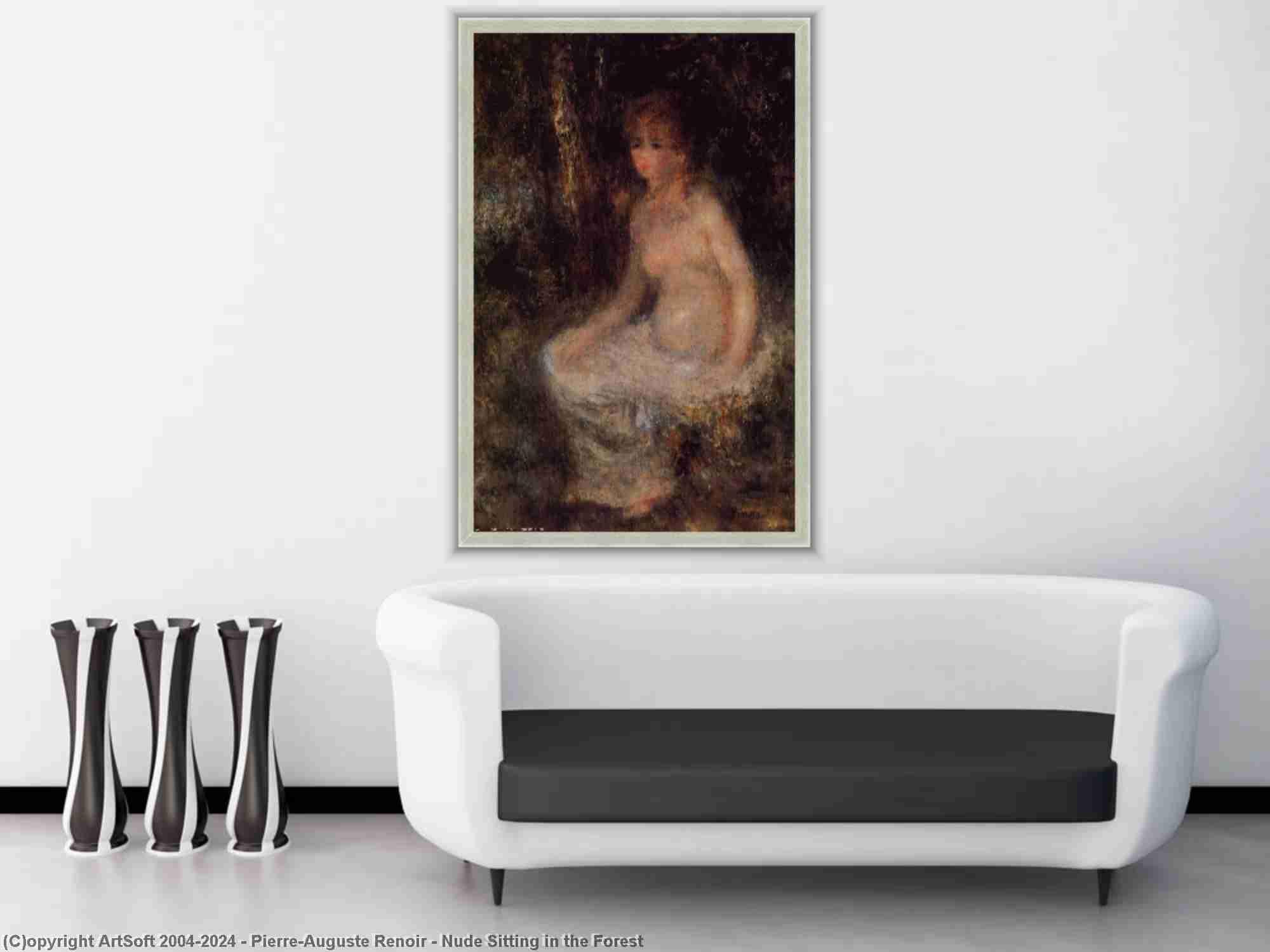 Pierre-Auguste Renoir - nu assis dans le forêt