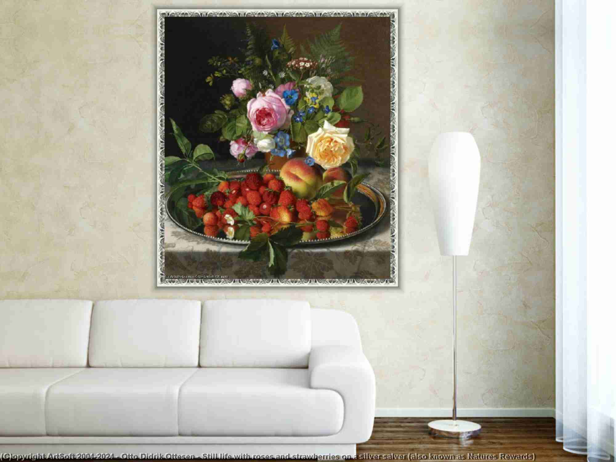 Otto Didrik Ottesen - Still life with roses and strawberries on a silver salver (also known as Natures Rewards)