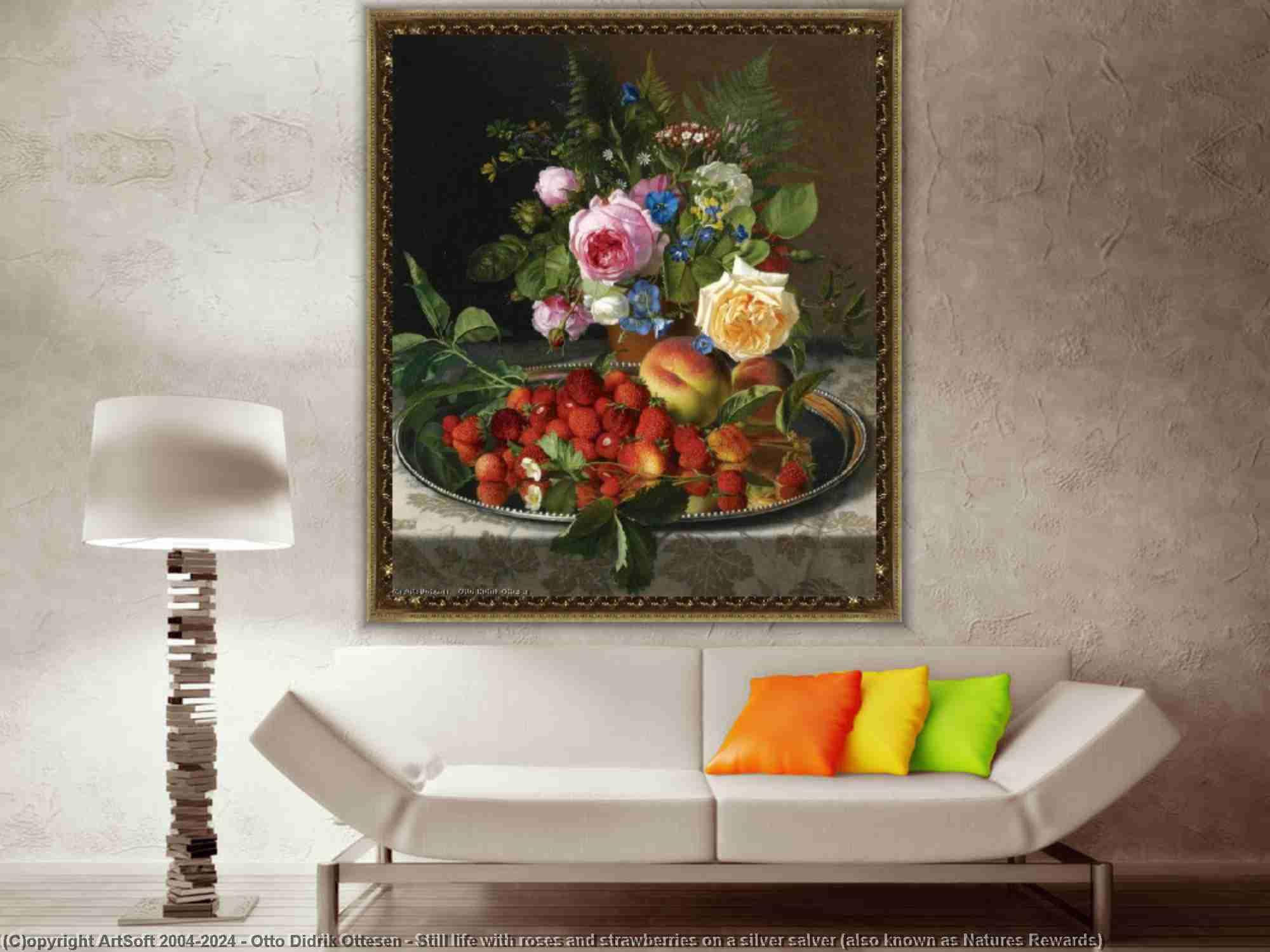 Otto Didrik Ottesen - Nature morte avec roses et les fraises sur une argent salver ( également connu sous le nom Les natures Récompenses )