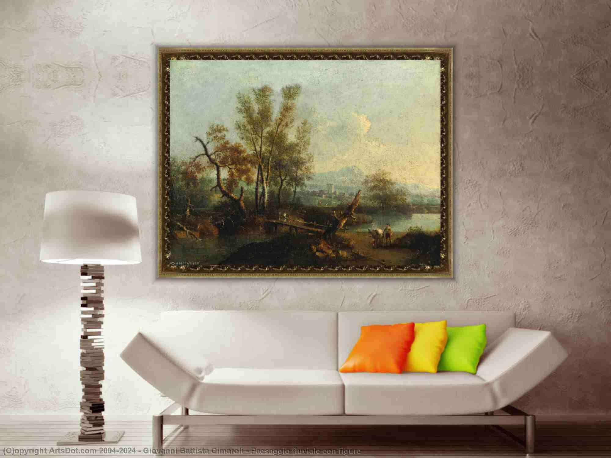 Giovanni Battista Cimaroli - Paesaggio fluviale contro figura