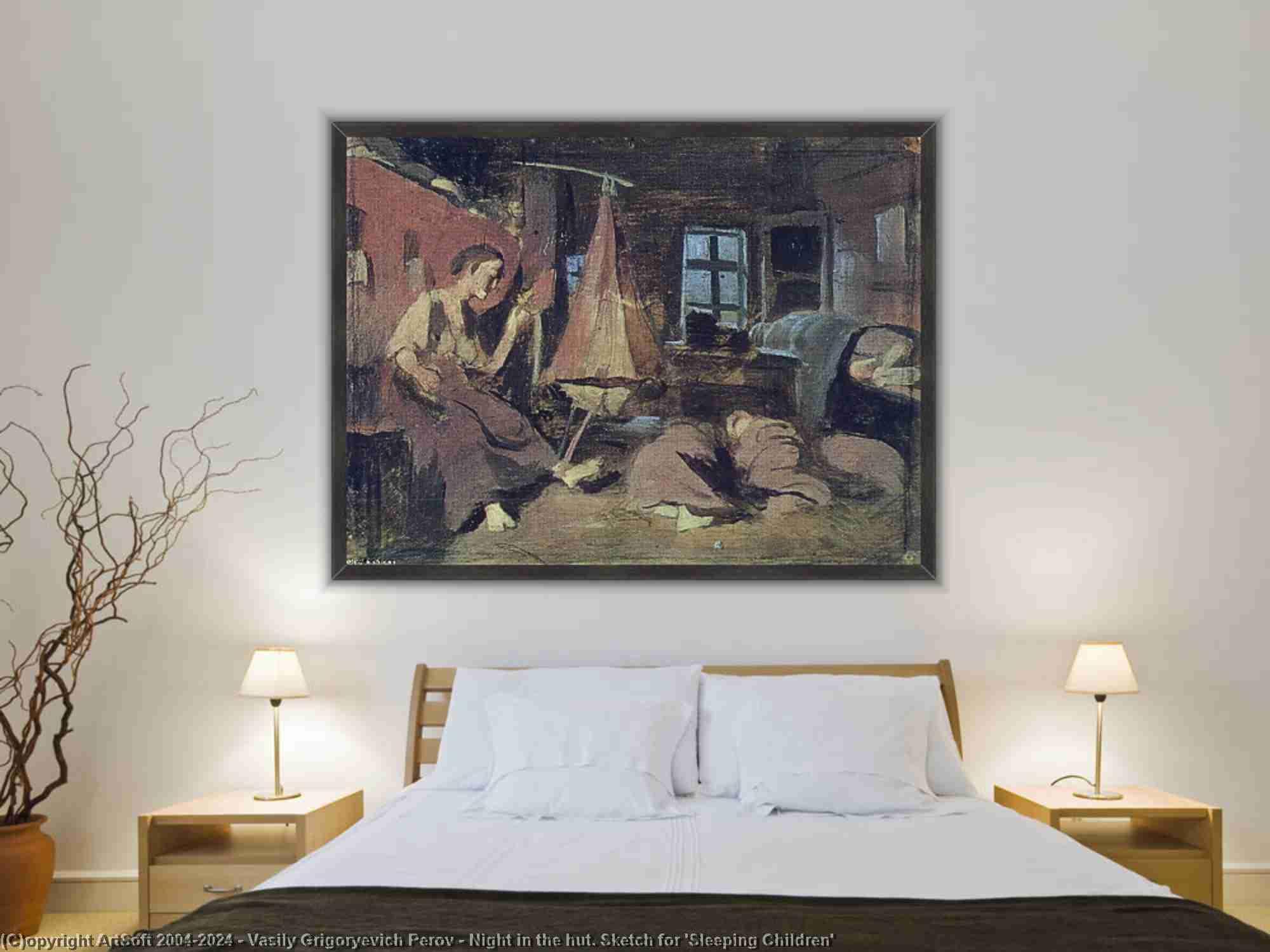Vasily Grigoryevich Perov - Noche en la cabaña. Boceto para Sleeping Children
