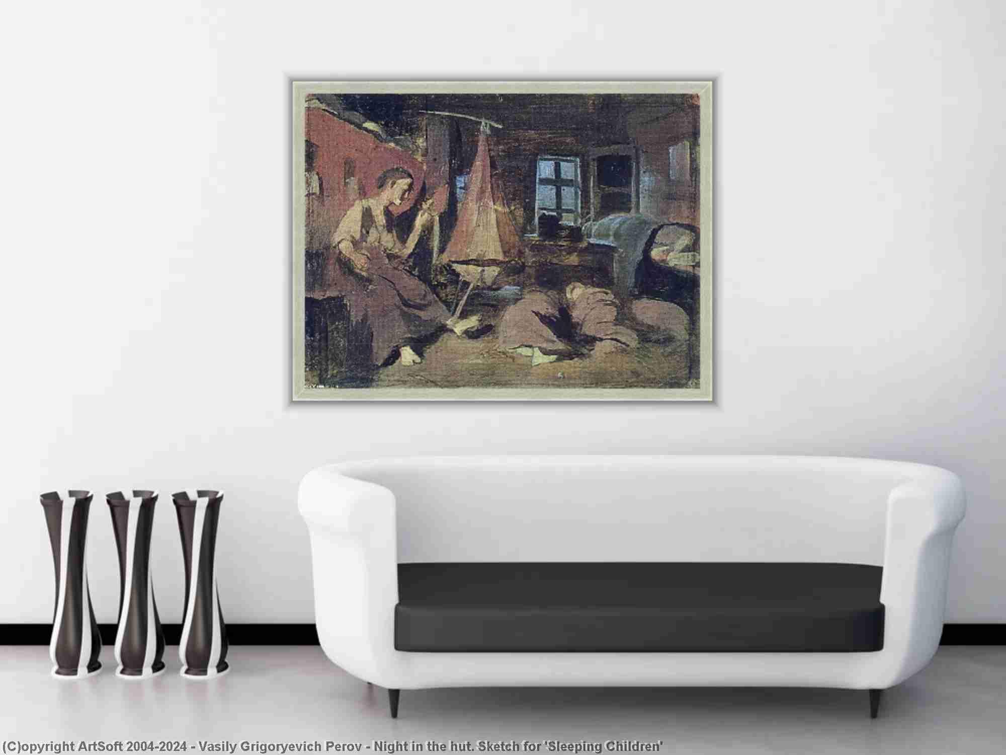 Vasily Grigoryevich Perov - Night in the hut. Sketch for -Sleeping Children-