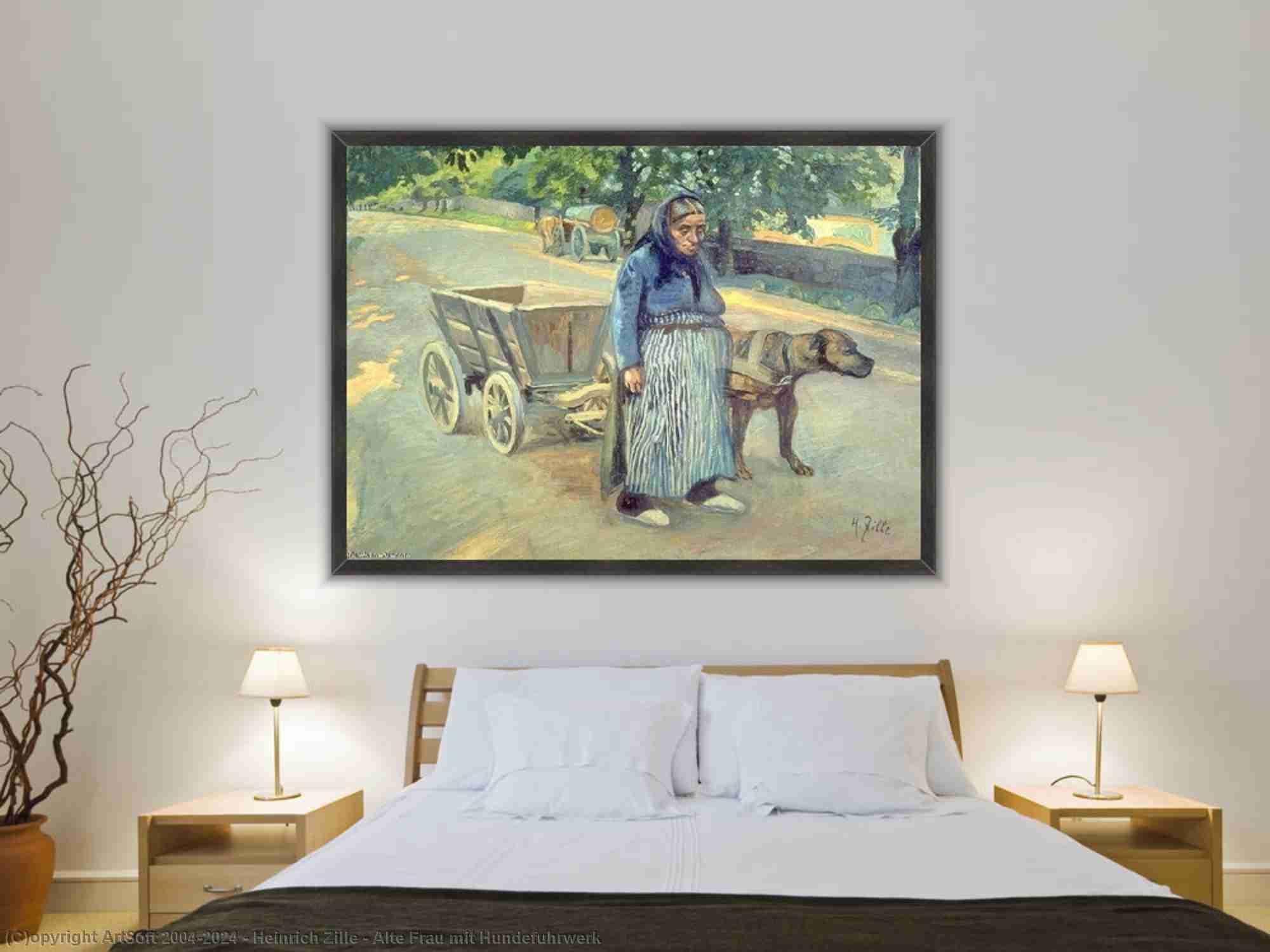 Heinrich Zille - alte frau mit hundefuhrwerk