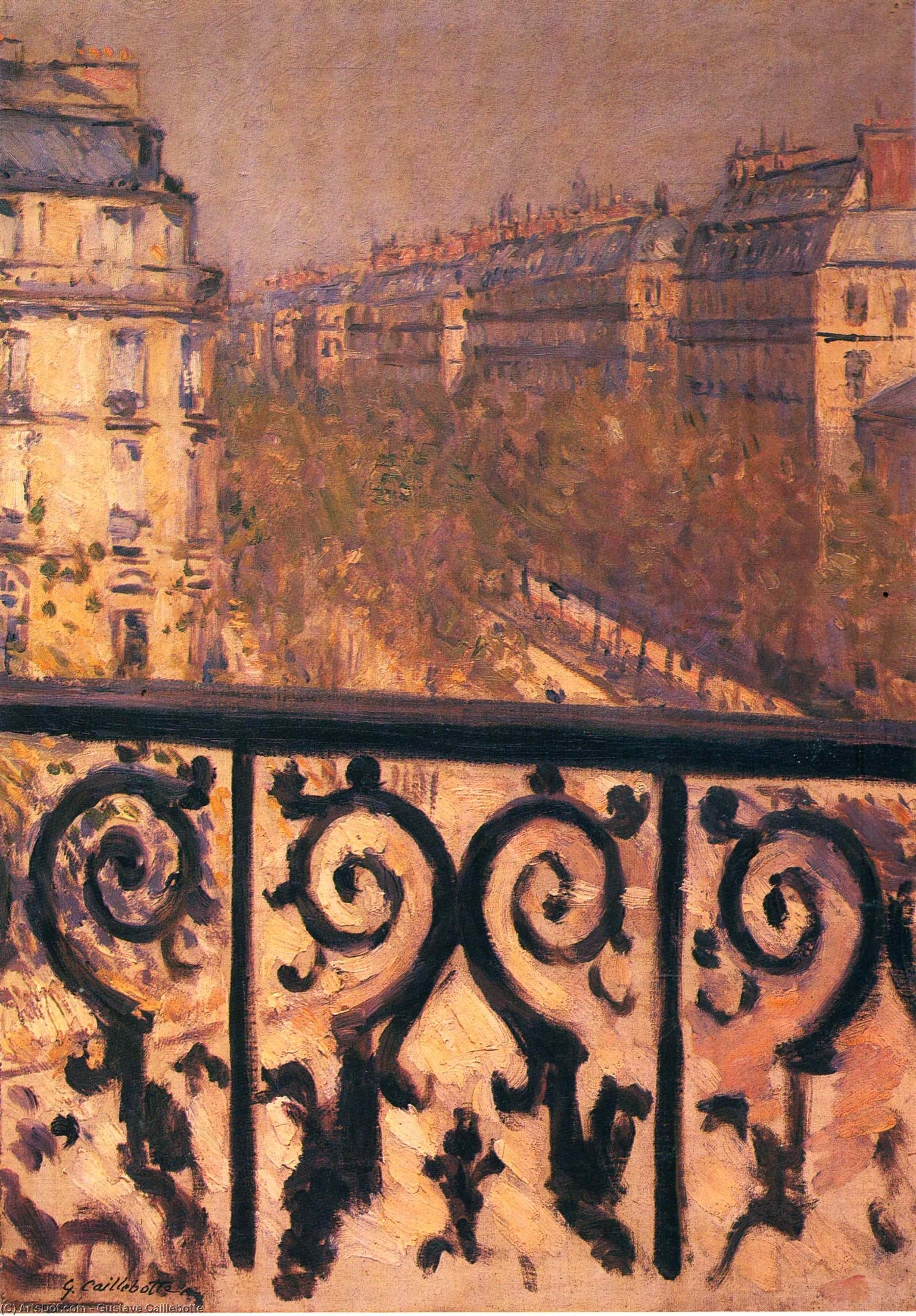 A Balcony in Paris, 1881 by Gustave Caillebotte (1848-1894, France) | Art Reproductions Gustave Caillebotte | ArtsDot.com