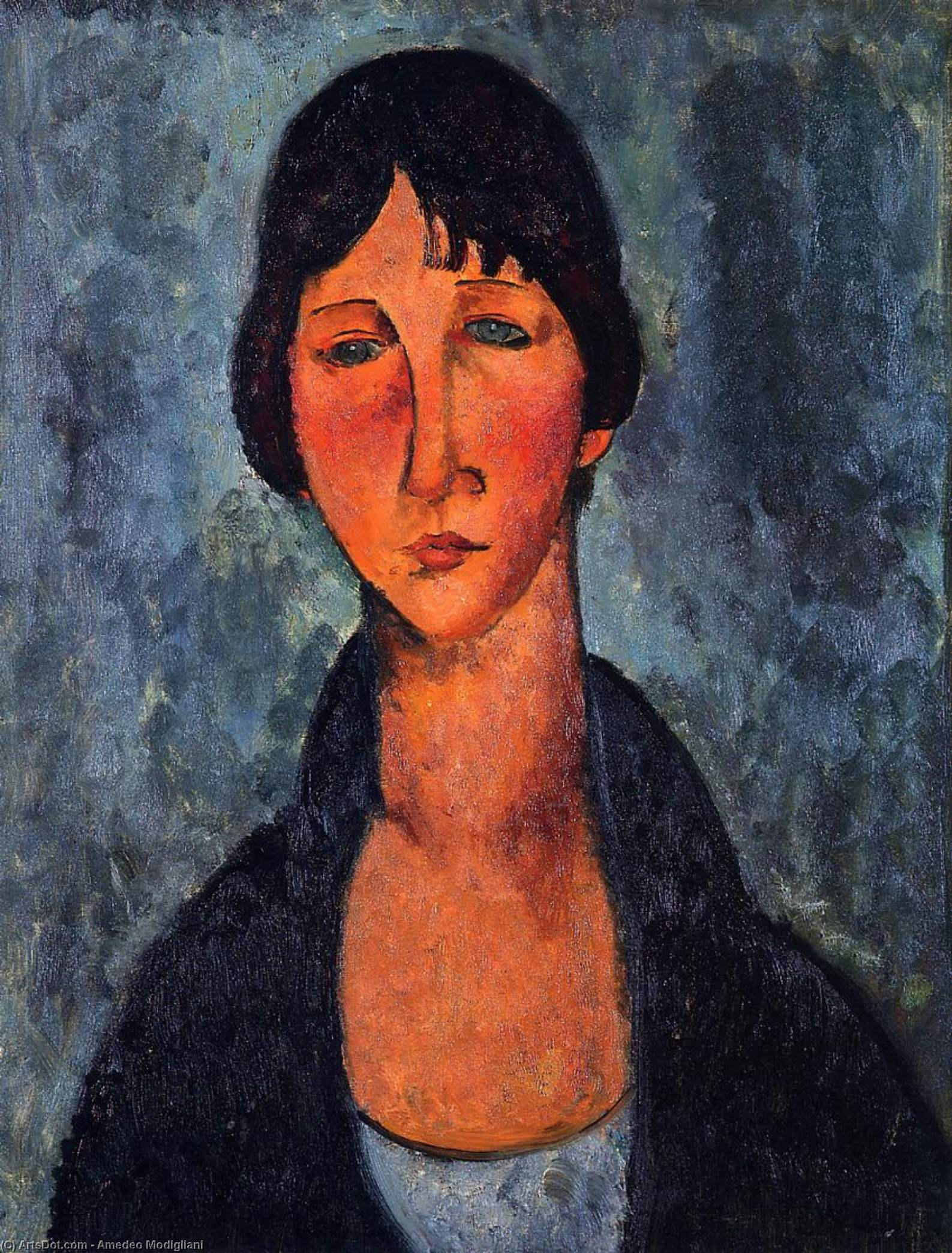 The Blue Blouse, 1917 by Amedeo Modigliani (1884-1920, Italy) | Museum Quality Reproductions | ArtsDot.com