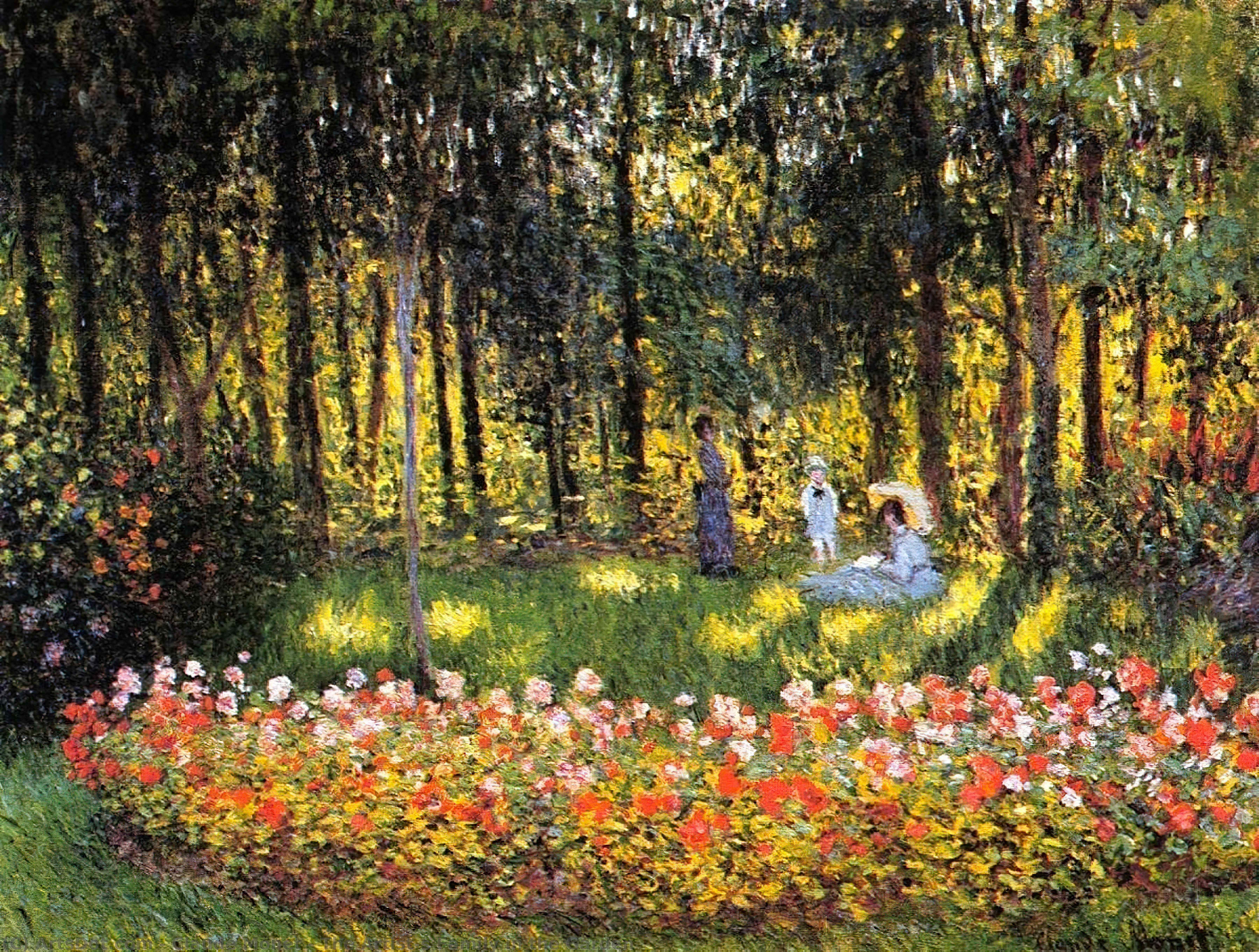 The Artist`s Family in the Garden by Claude Monet (1840-1926, France) | Art Reproductions Claude Monet | ArtsDot.com
