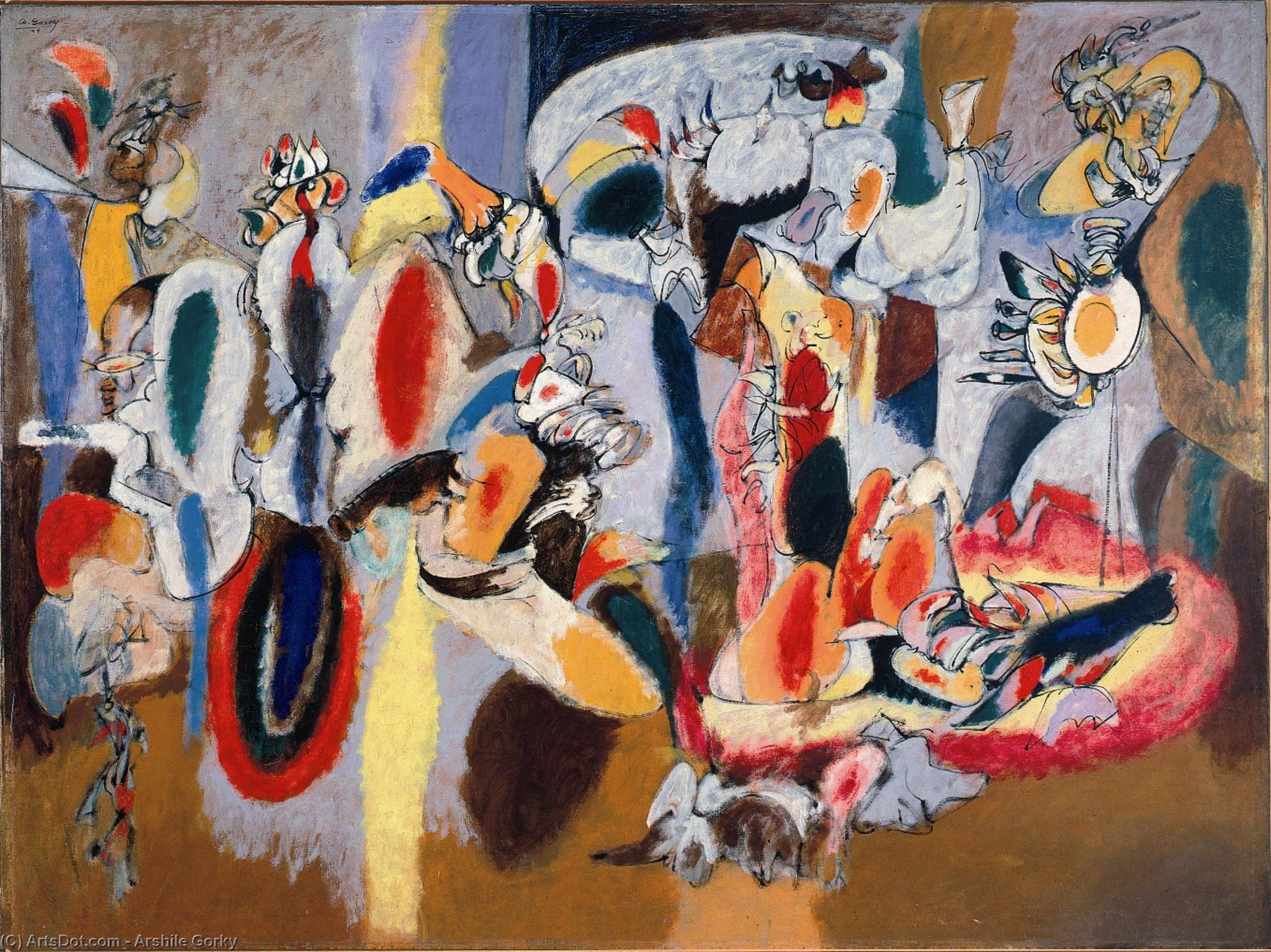 The Liver is the Cock`s Comb, 1944 by Arshile Gorky (1904-1948, Turkey) | Museum Art Reproductions | ArtsDot.com