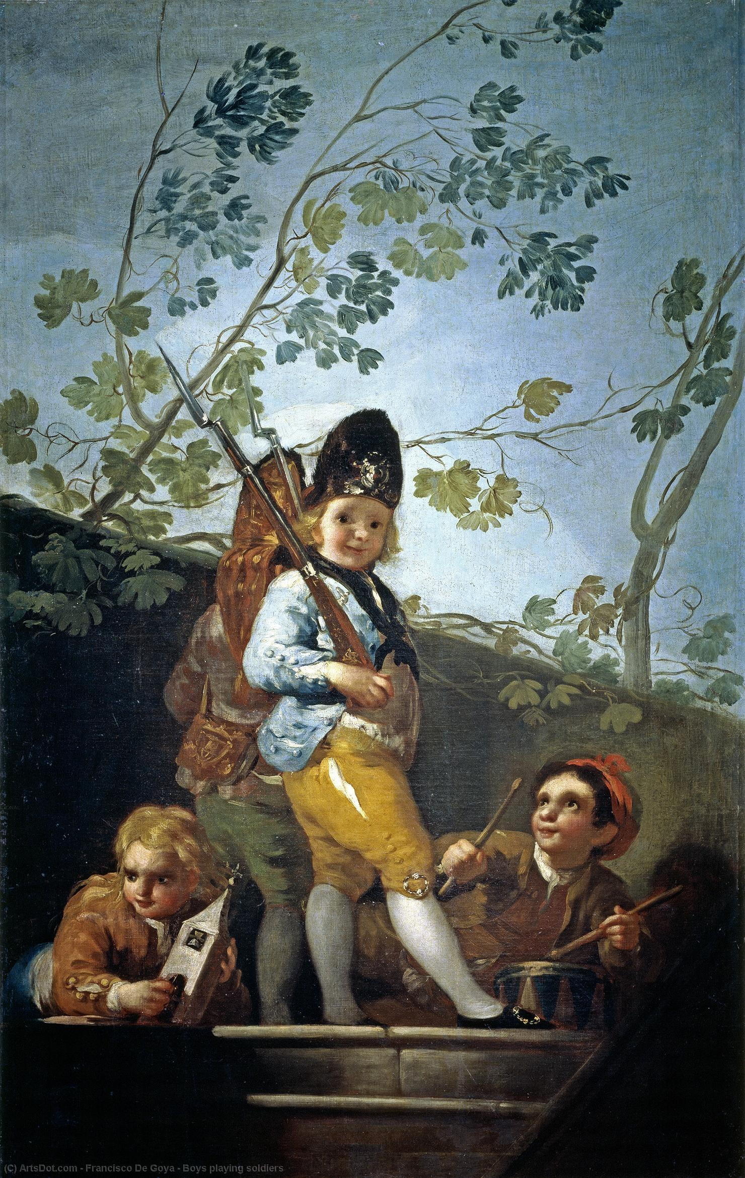 Boys playing soldiers, 1779 by Francisco De Goya (1746-1828, Spain) | Art Reproduction | ArtsDot.com