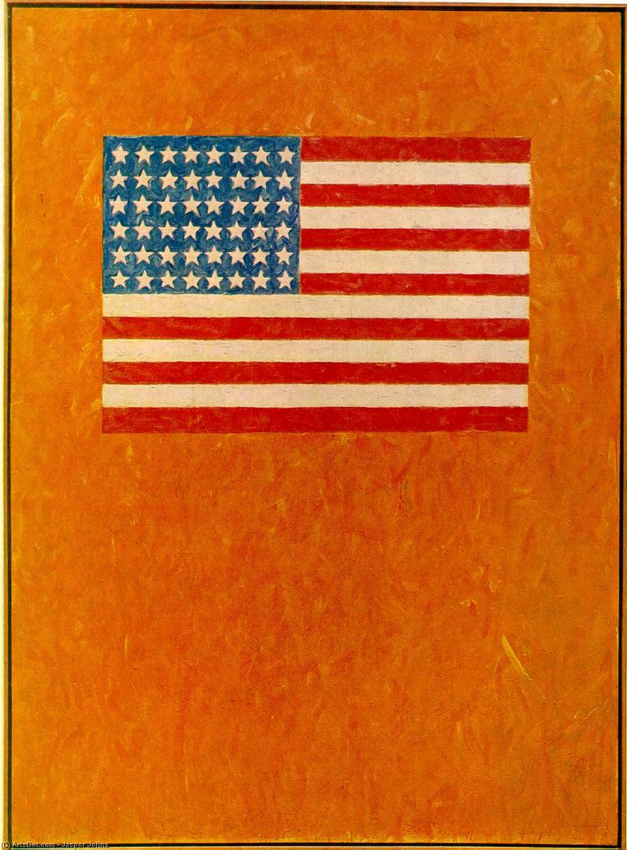 Flag on Orange Field, 1957 by Jasper Johns | Oil Painting | ArtsDot.com