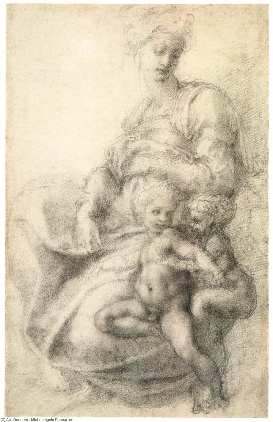 michelangelo drawing madonna and child 1525 - 636×1017