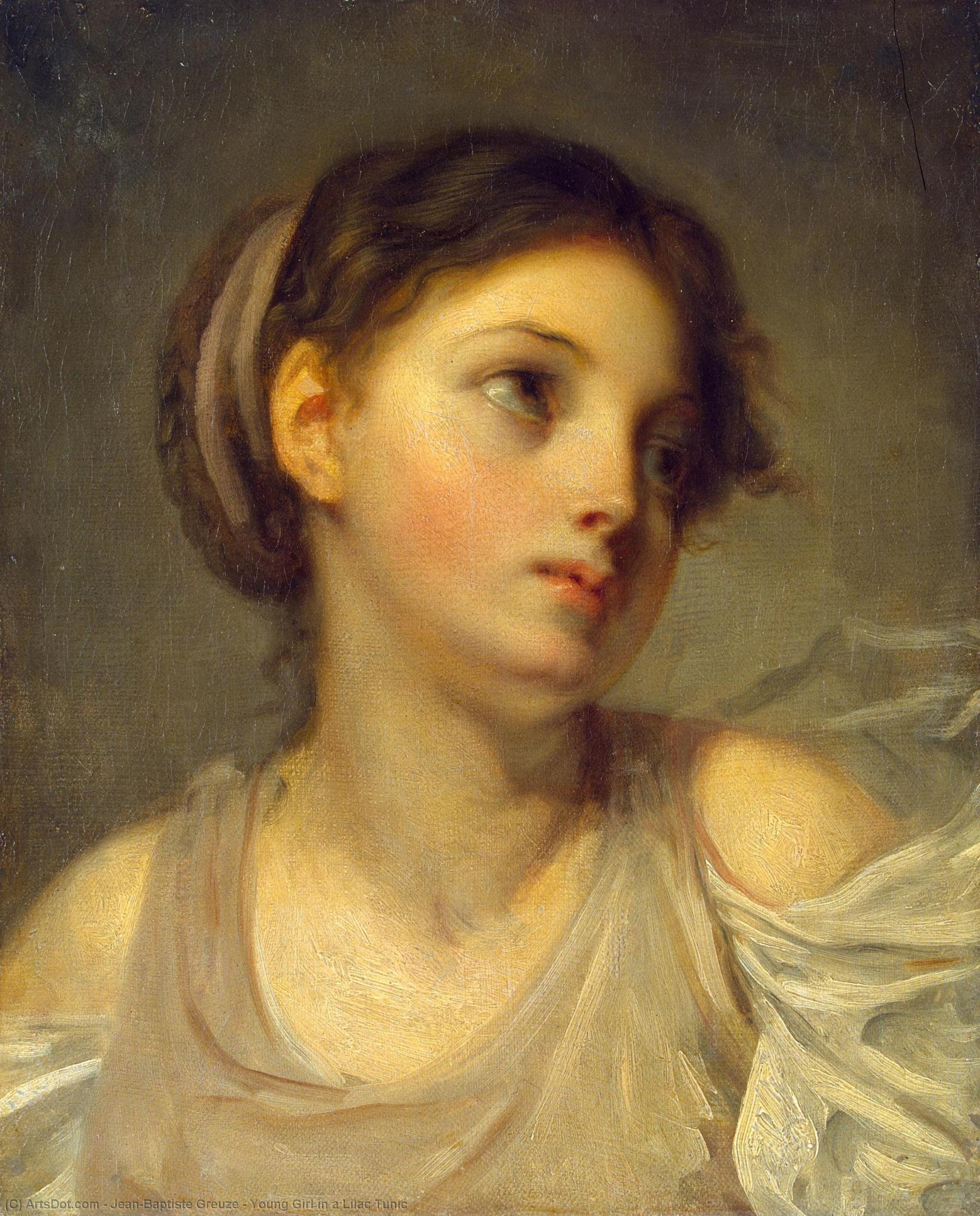 Young Girl in a Lilac Tunic, 1770 by Jean-Baptiste Greuze (1725-1805, France) | Art Reproductions Jean-Baptiste Greuze | ArtsDot.com