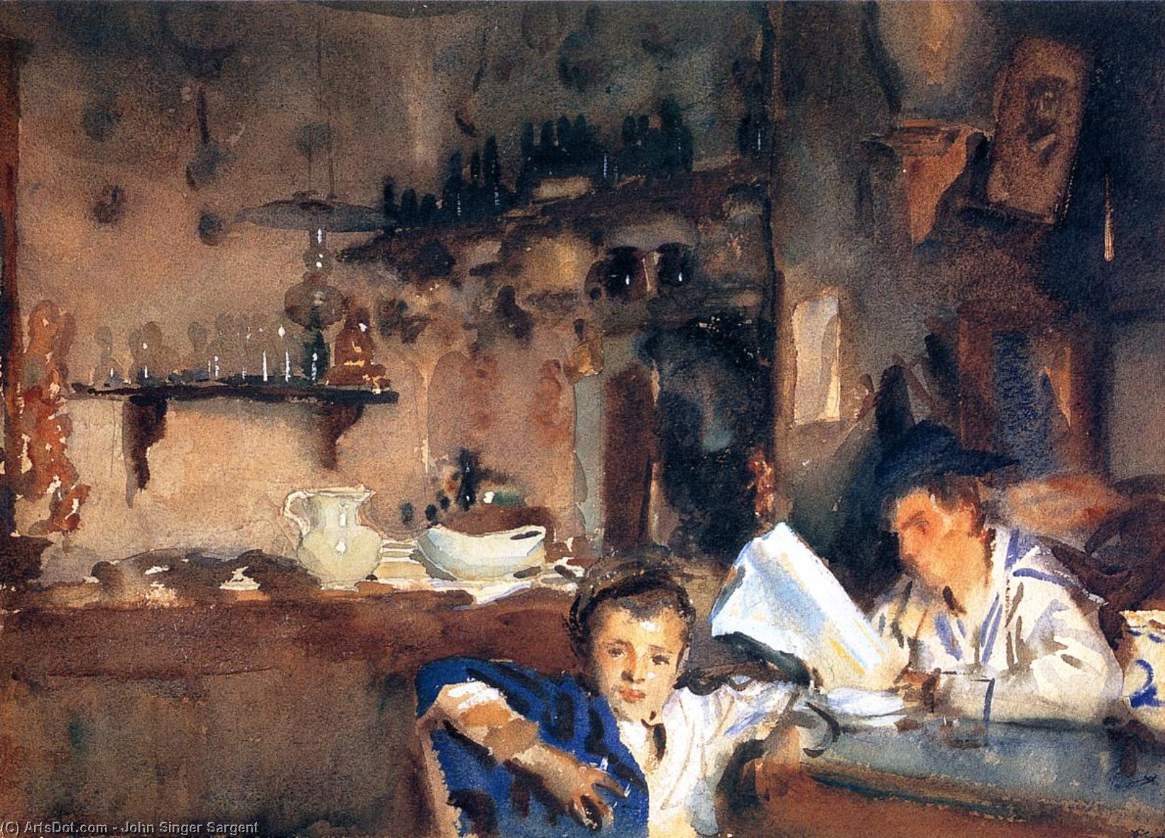 Venetian Interior (also known as Spanish Interior), 1903 by John Singer Sargent (1856-1925, Italy) | Painting Copy | ArtsDot.com
