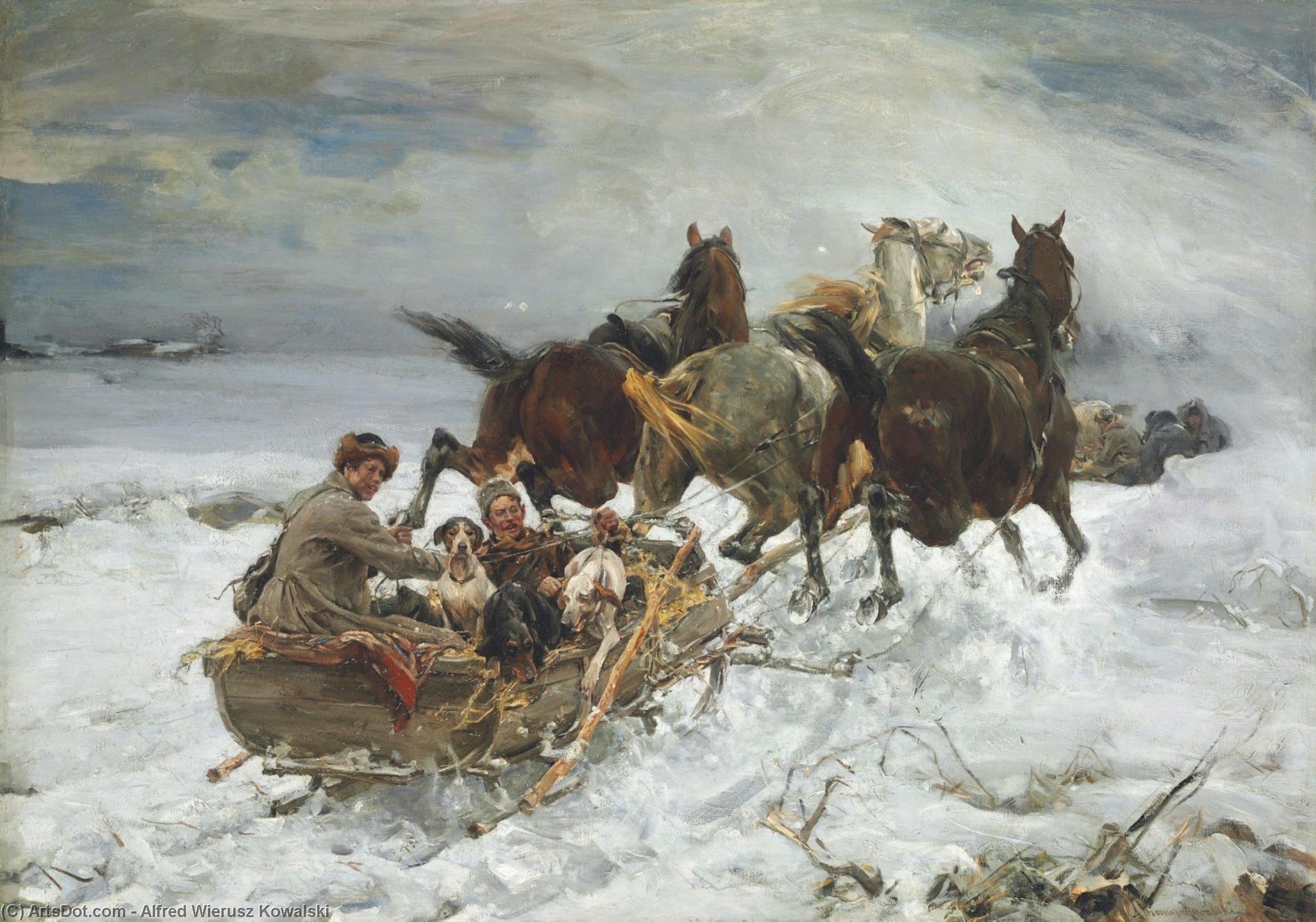 Horse Drawn Endrino De Alfred Wierusz Kowalski 1849 1915