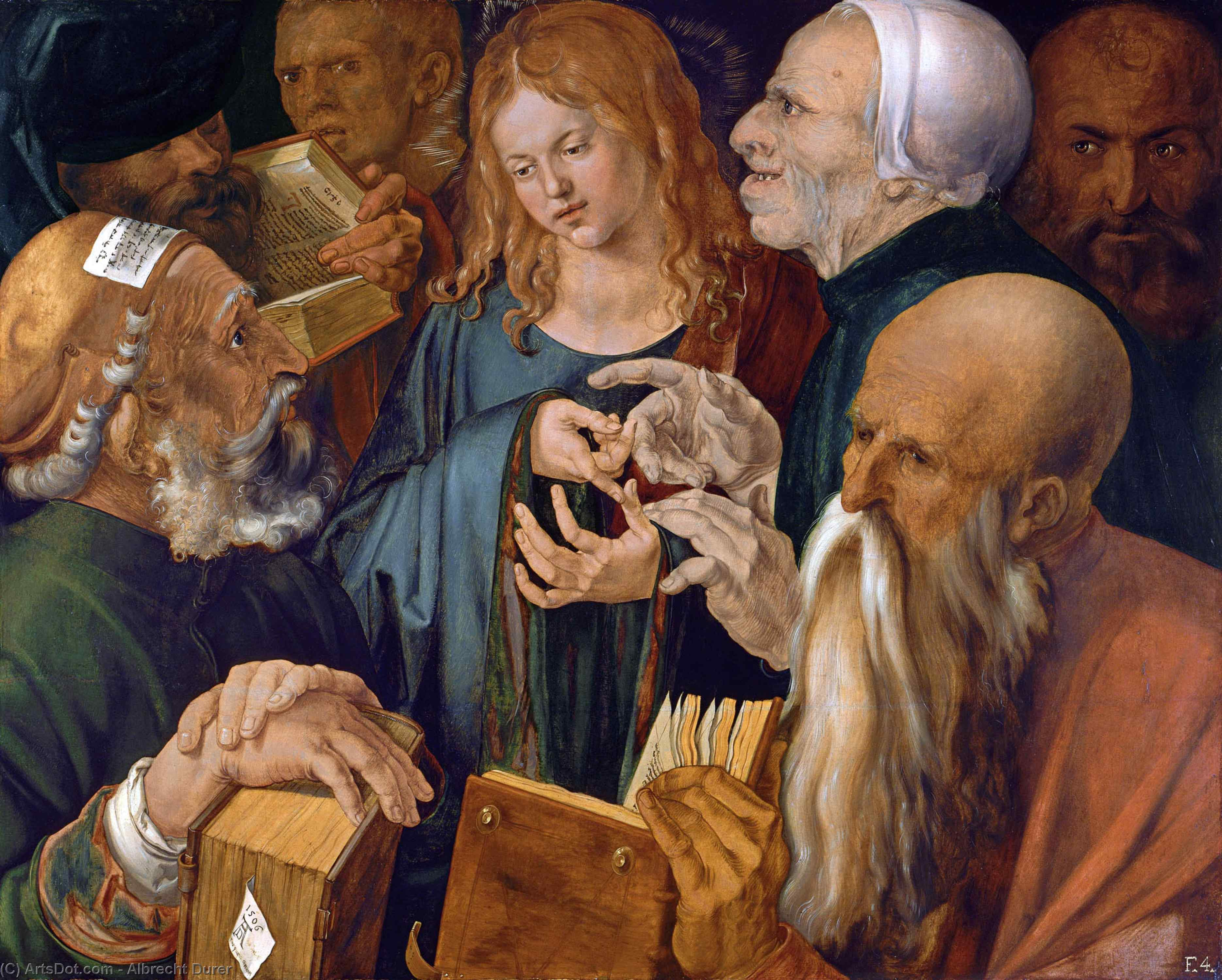 Christ Among the Doctors, 1506 by Albrecht Durer (1471-1528, Italy) | Paintings Reproductions Albrecht Durer | ArtsDot.com