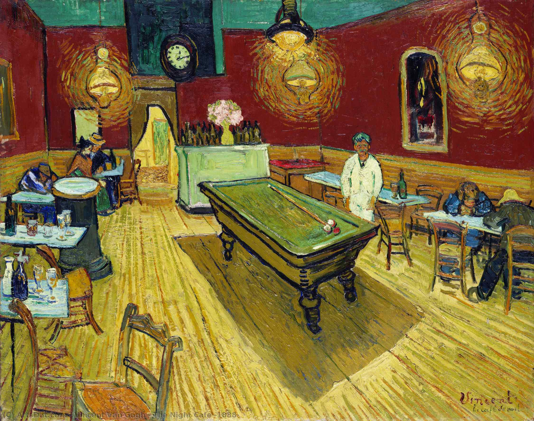 The Night Cafe, 1888 by Vincent Van Gogh (1853-1890, Netherlands) | Art Reproductions Vincent Van Gogh | ArtsDot.com