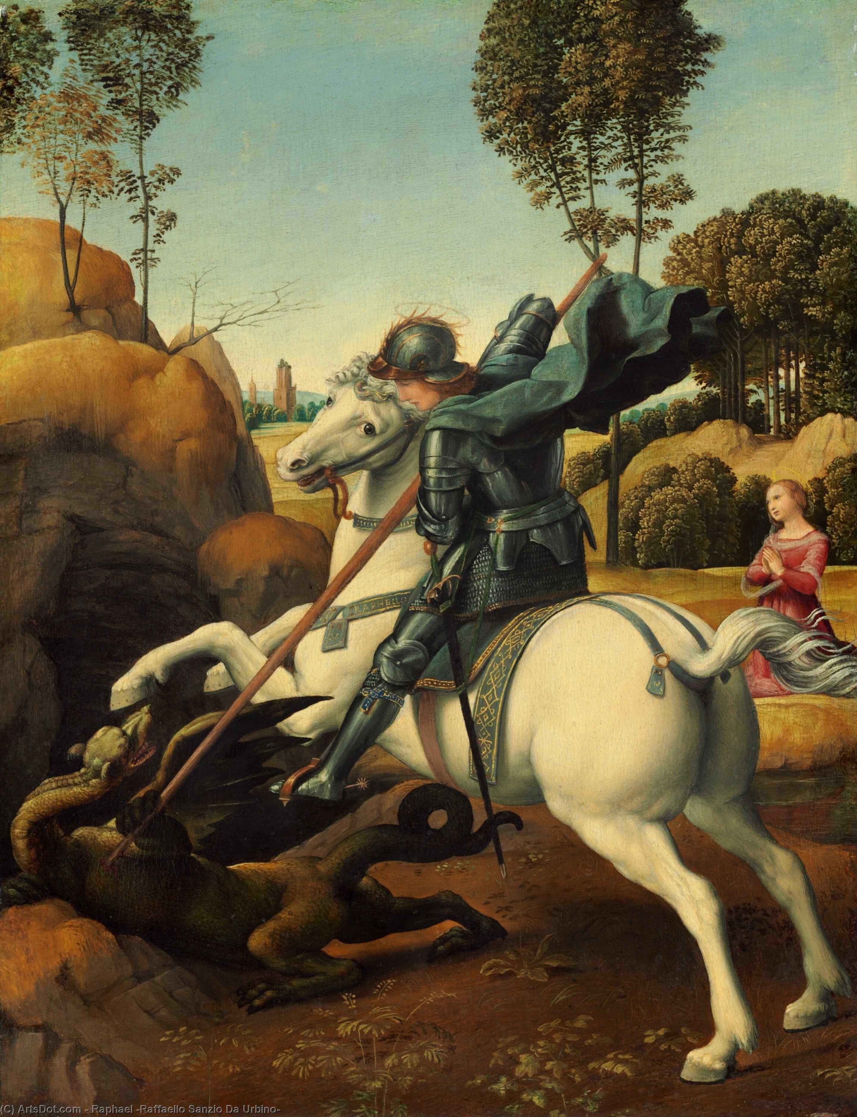 St. George and the Dragon, Oil by Raphael (Raffaello Sanzio Da Urbino) (1483-1520, Italy)