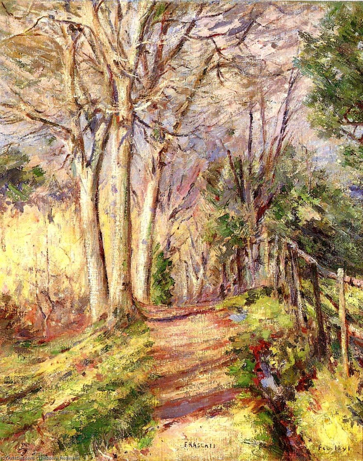 Path in Frascati, 1891 by Theodore Robinson (1852-1896, United States) | Museum Art Reproductions Theodore Robinson | ArtsDot.com