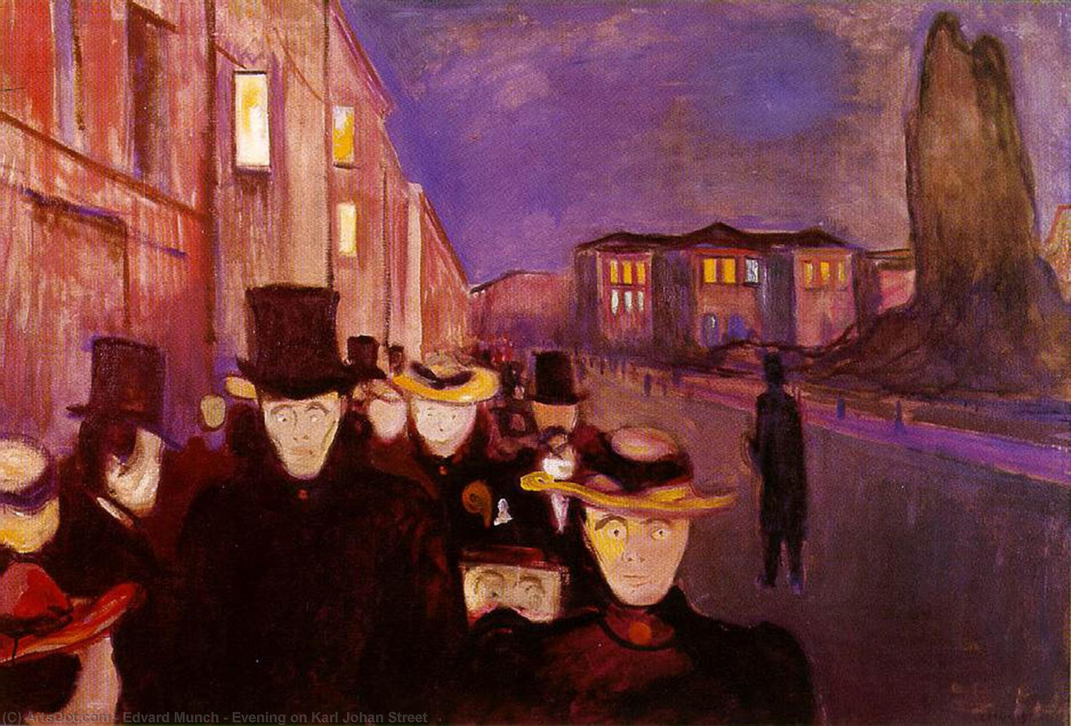 Evening on Karl Johan Street, 1892 by Edvard Munch (1863-1944, Sweden) | Museum Art Reproductions | ArtsDot.com