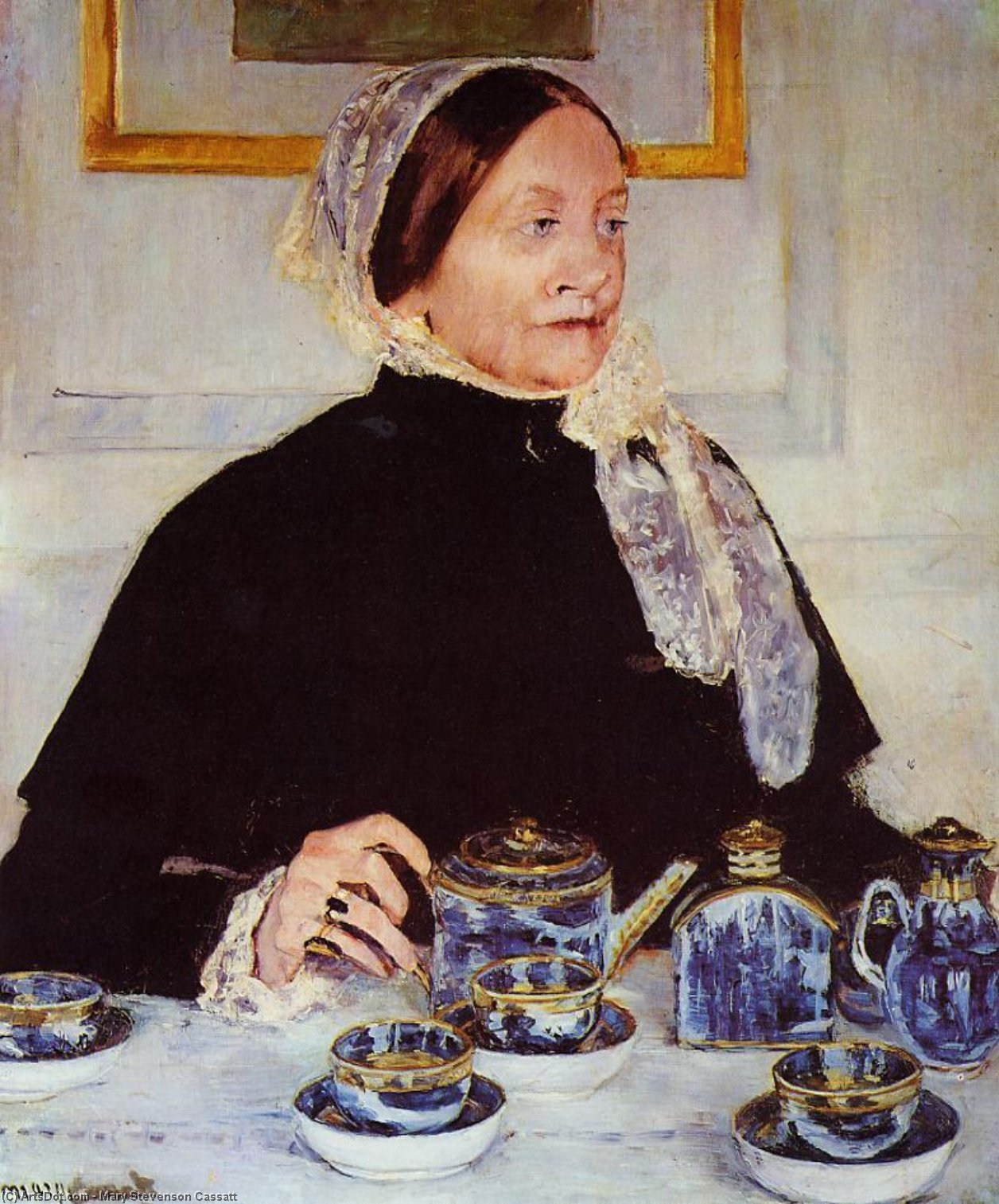 Lady at the Tea Table, 1883 by Mary Stevenson Cassatt (1843-1926, United States) | Paintings Reproductions Mary Stevenson Cassatt | ArtsDot.com