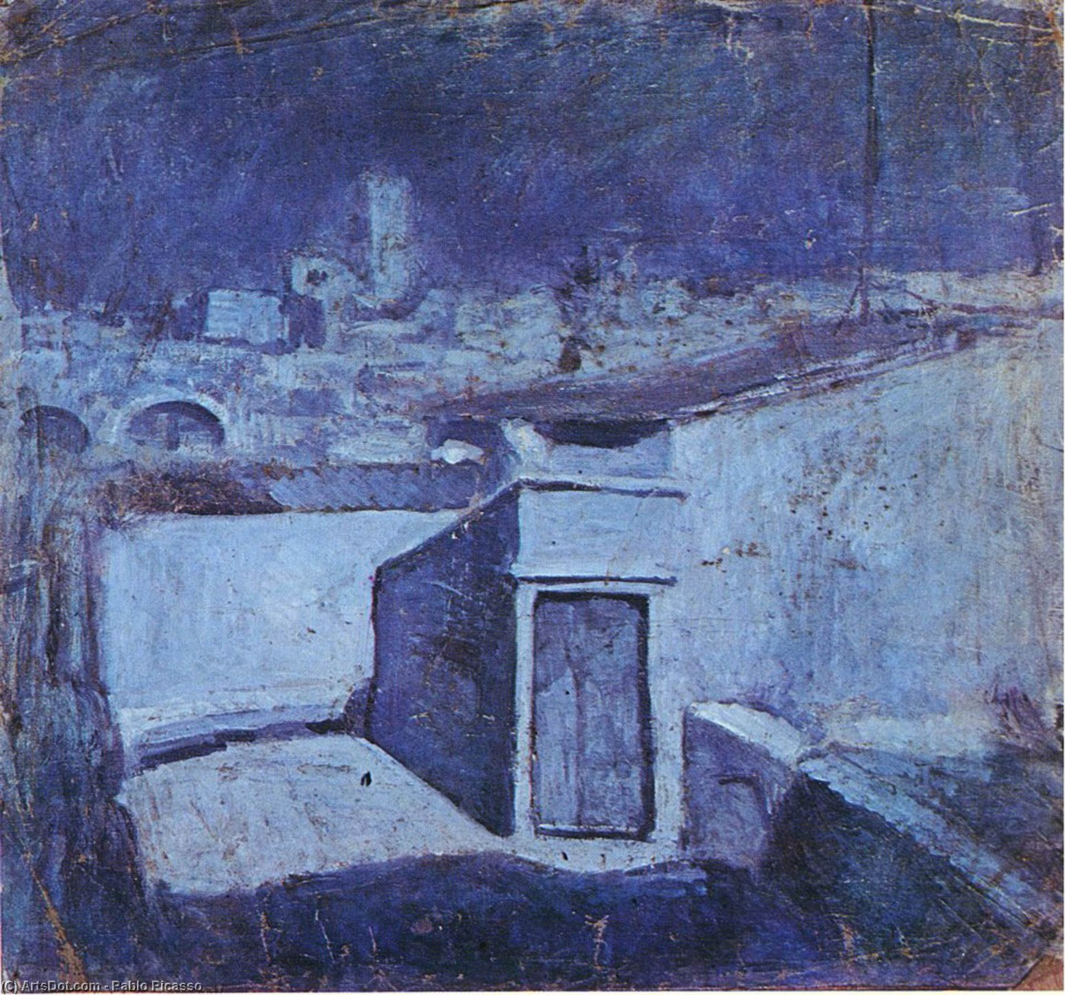 The roofs of Barcelona in the moonlight, 1903 by Pablo Picasso (1881-1973, Spain) | Museum Quality Reproductions | ArtsDot.com