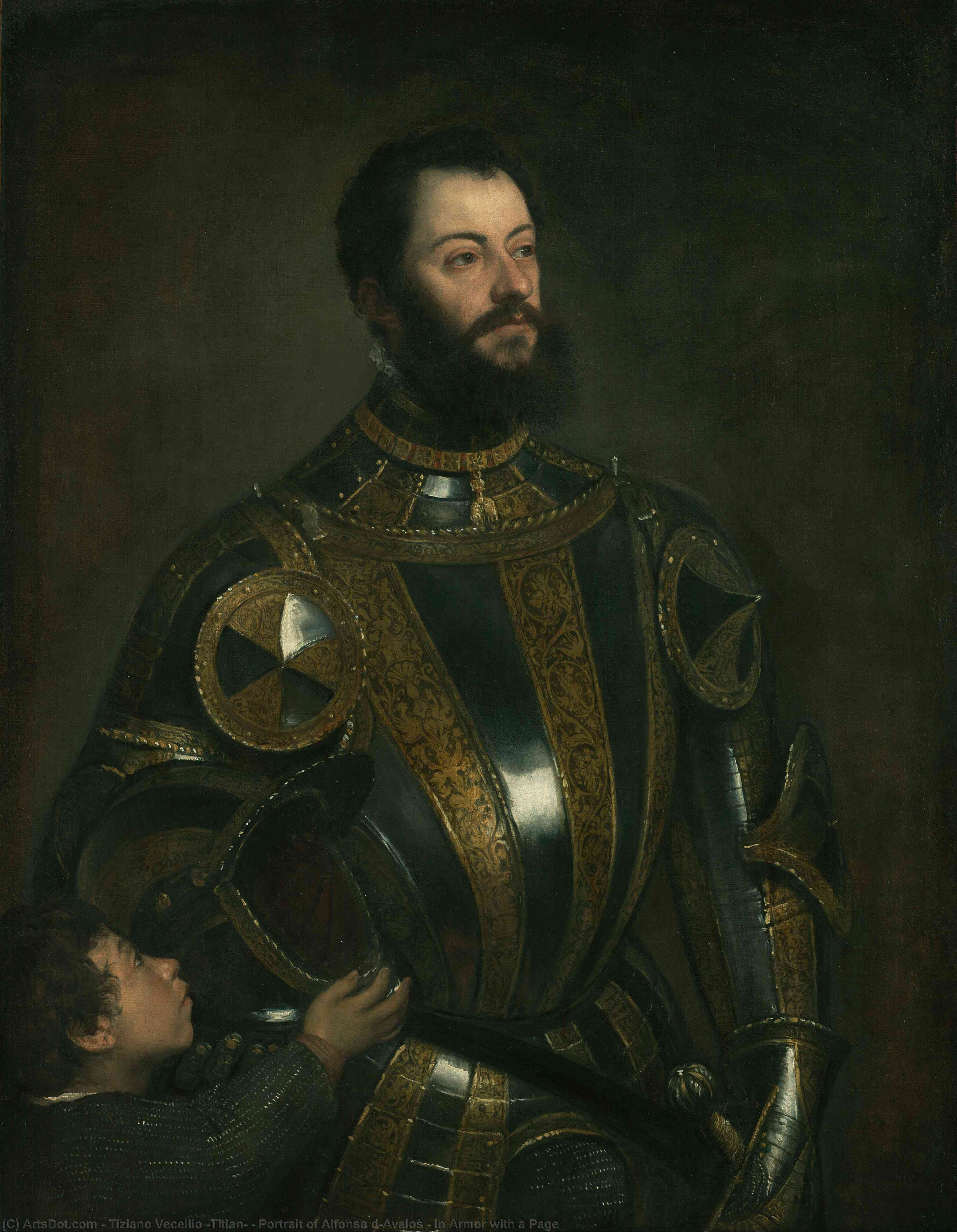 Portrait of Alfonso d`Avalos , in Armor with a Page, 1533 by Tiziano Vecellio (Titian) (1490-1576, Italy) | Museum Art Reproductions Tiziano Vecellio (Titian) | ArtsDot.com