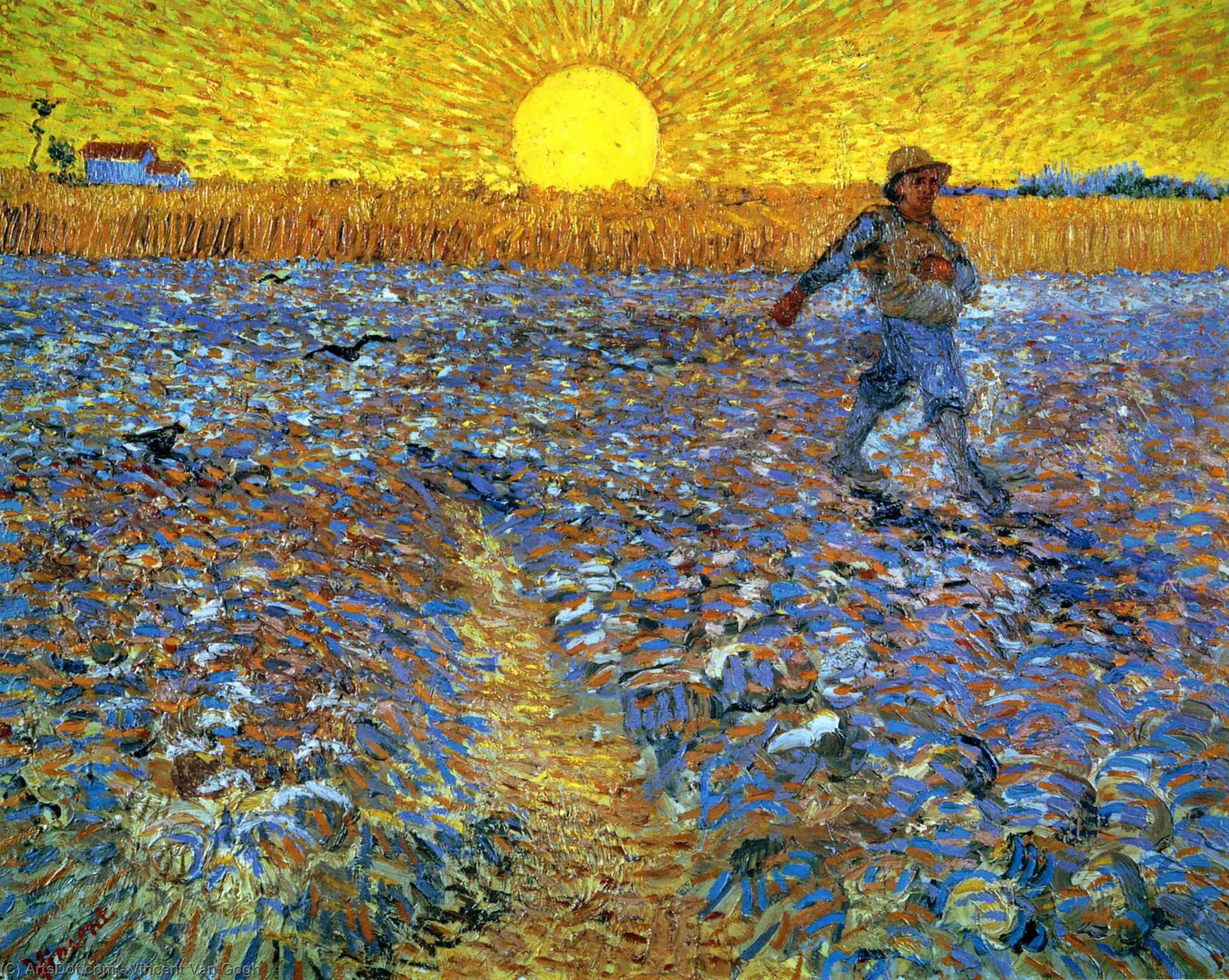 The Sower (Sower with Setting Sun), 1888 by Vincent Van Gogh (1853-1890, Netherlands) | Oil Painting | ArtsDot.com