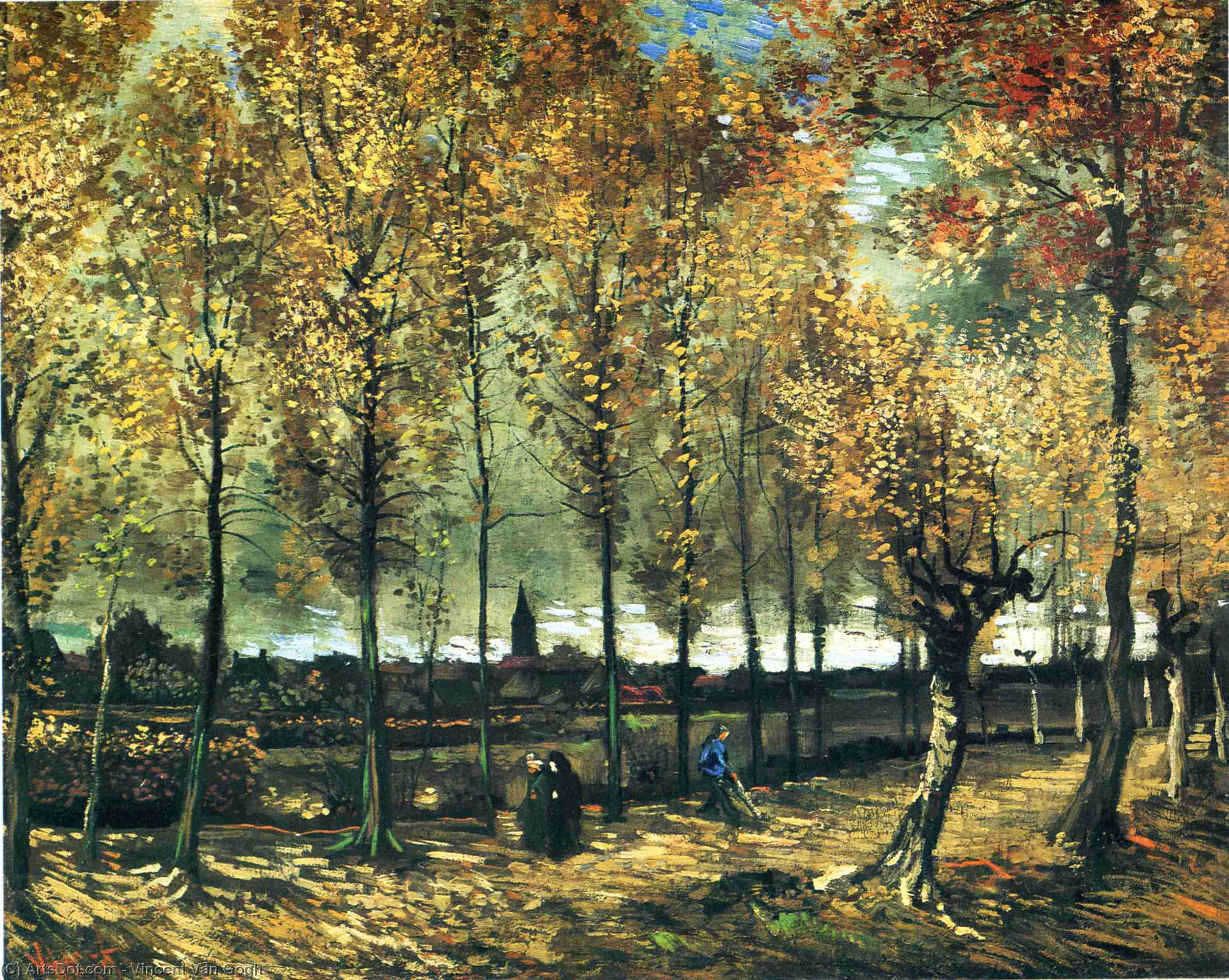 Lane with poplars near Nuenen, 1885 by Vincent Van Gogh (1853-1890, Netherlands) | Museum Art Reproductions Vincent Van Gogh | ArtsDot.com
