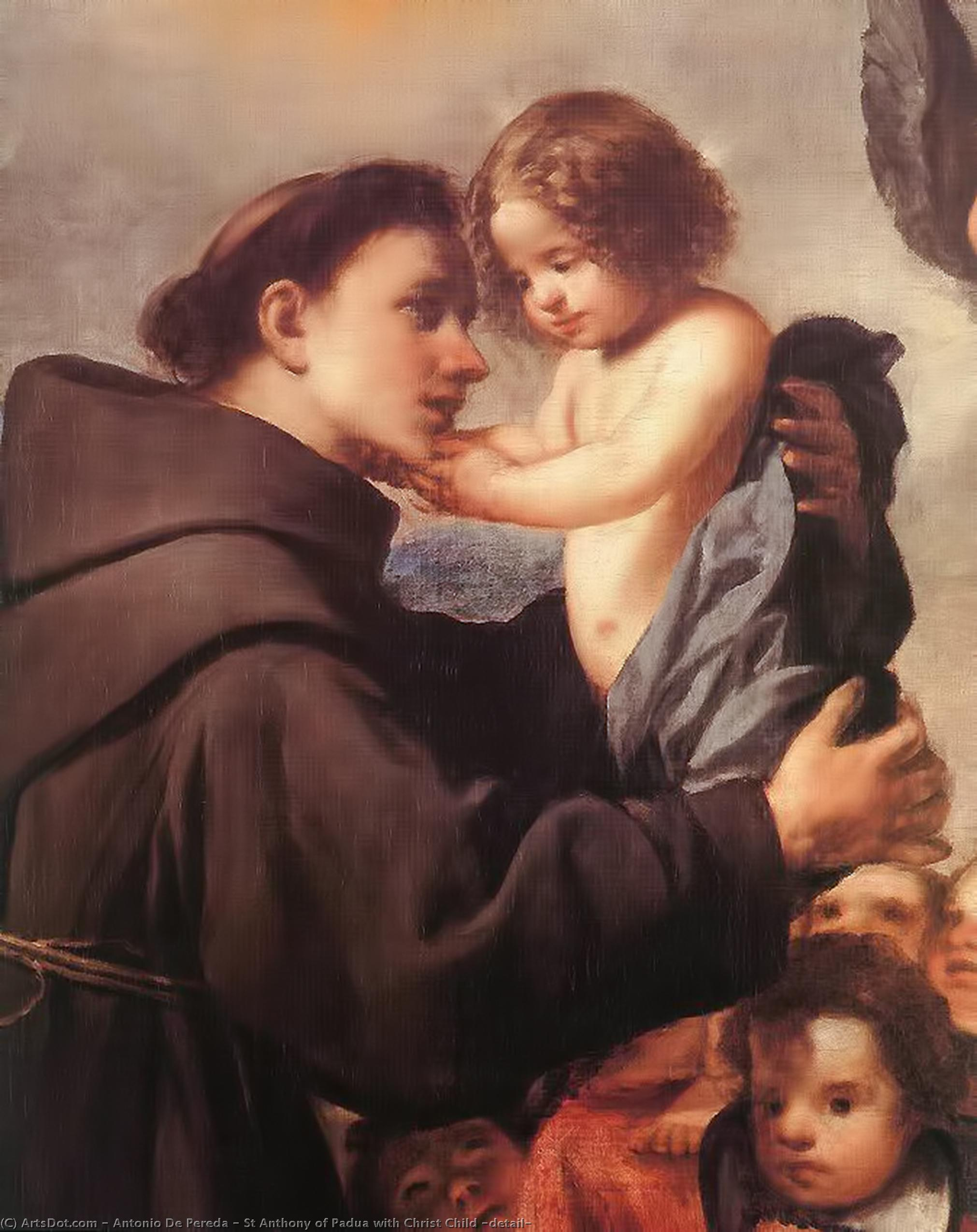 St Anthony of Padua with Christ Child (detail) by Antonio De Pereda  (1611-1678, Spain) |