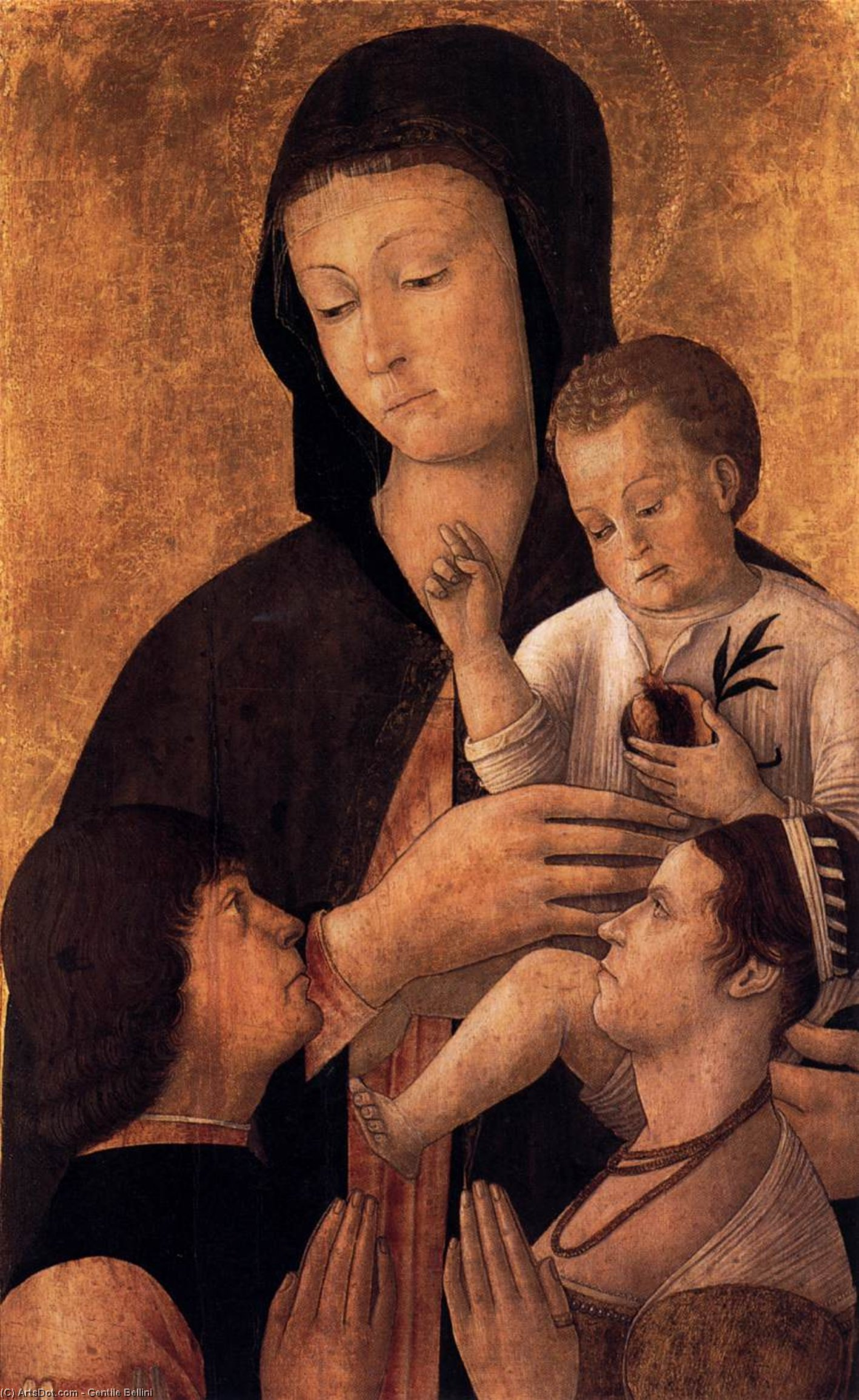 Madonna and Child with Donors, 1460 by Gentile Bellini (1429-1507, Italy) | Museum Art Reproductions | ArtsDot.com