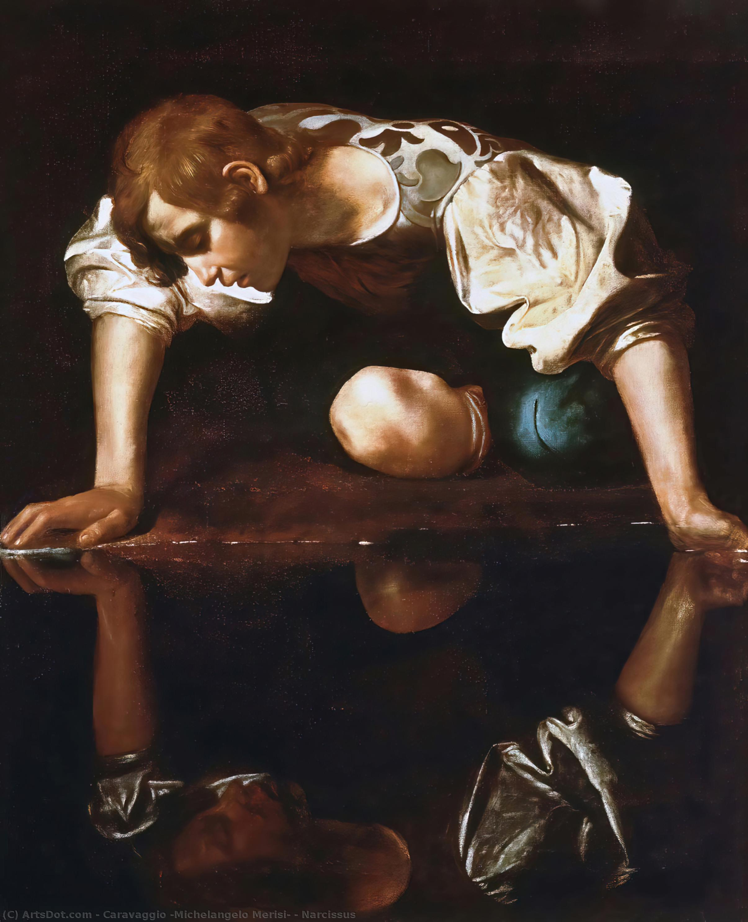 Narcissus, Oil On Canvas by Caravaggio (Michelangelo Merisi) (1571-1610, Spain)