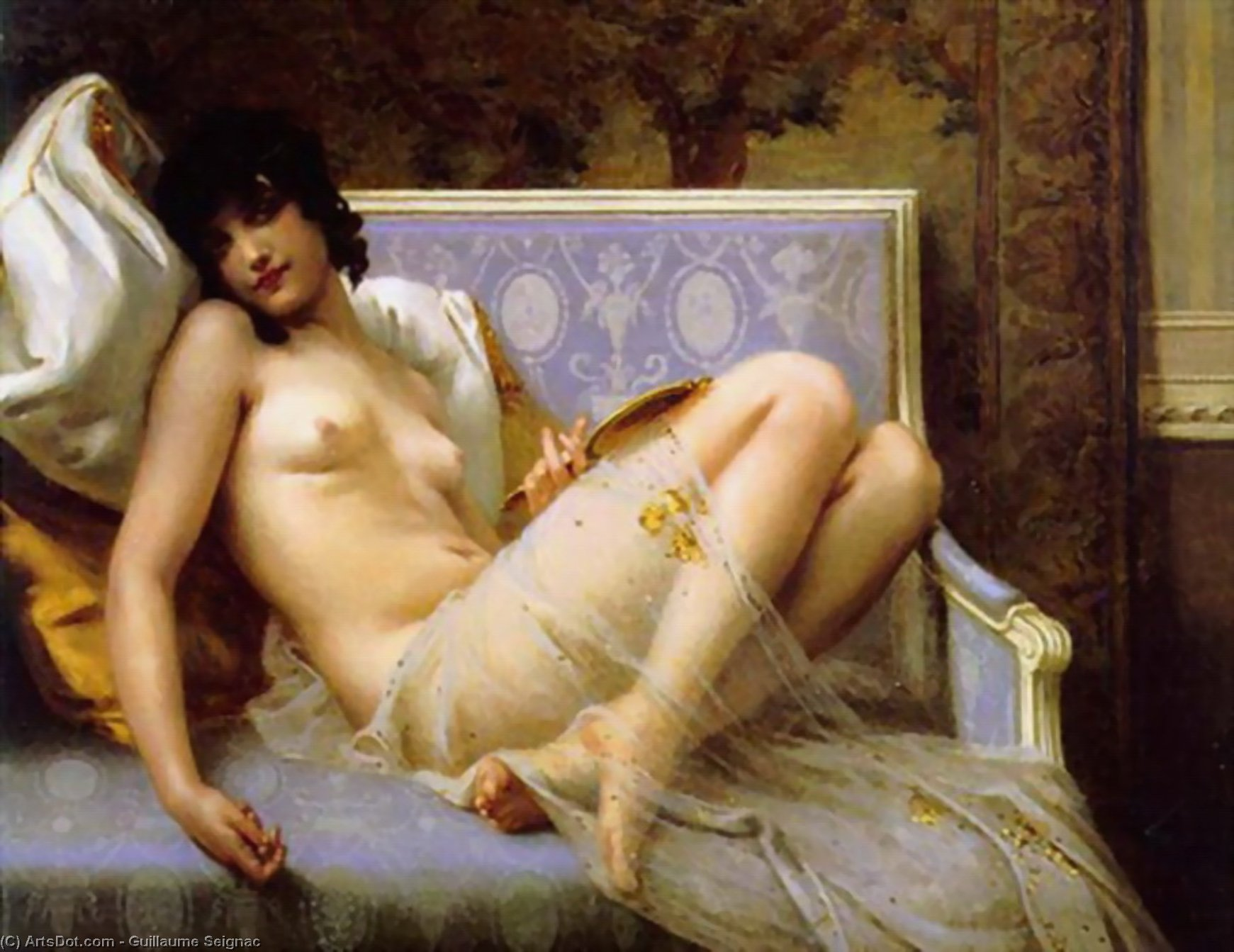 Jeune femme denudee sur canape by Guillaume Seignac (1870-1924, France) | Art Reproduction | ArtsDot.com