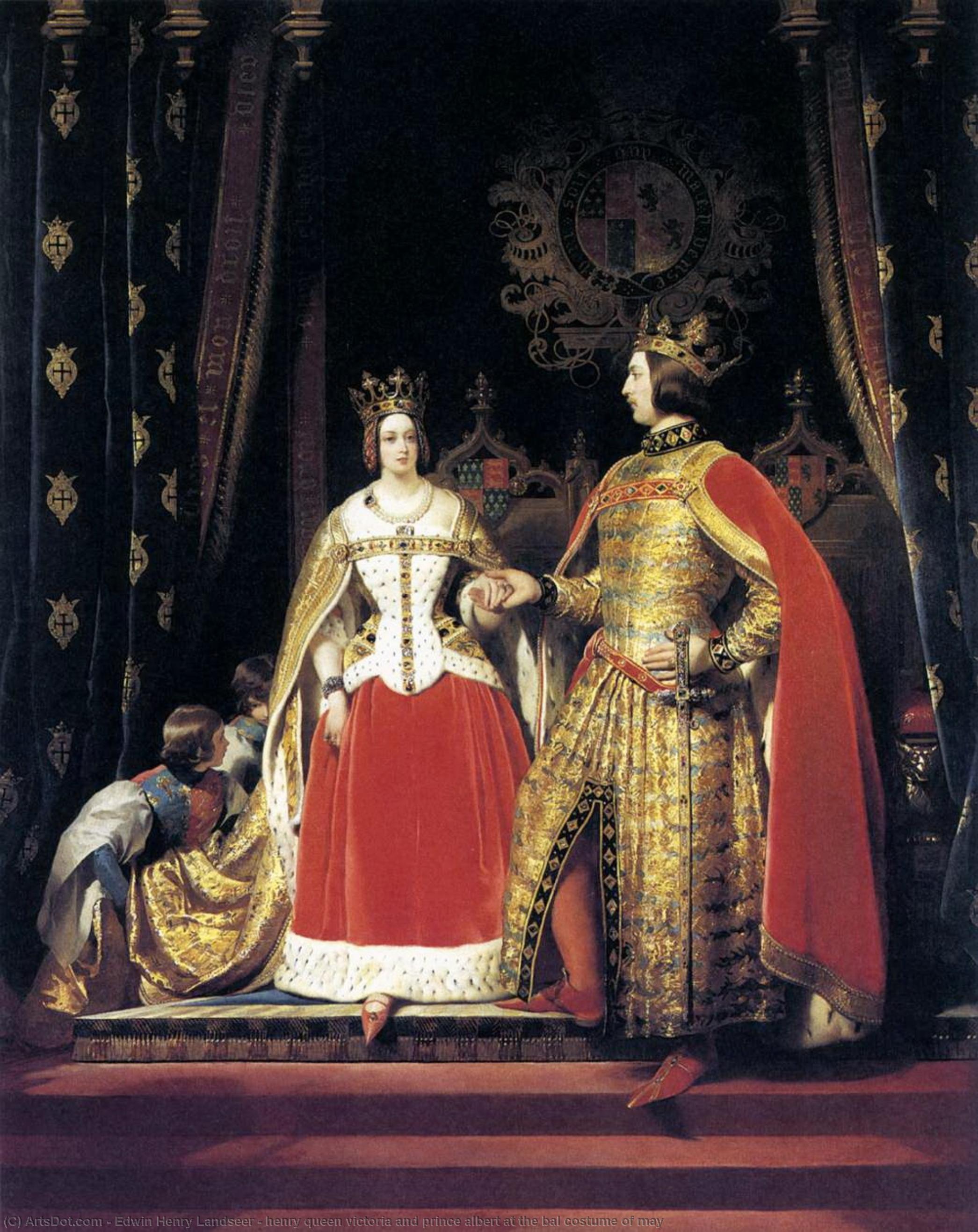 enrico la regina vittoria e il principe alberto in costume bal maggio, 1842  di Edwin Henry