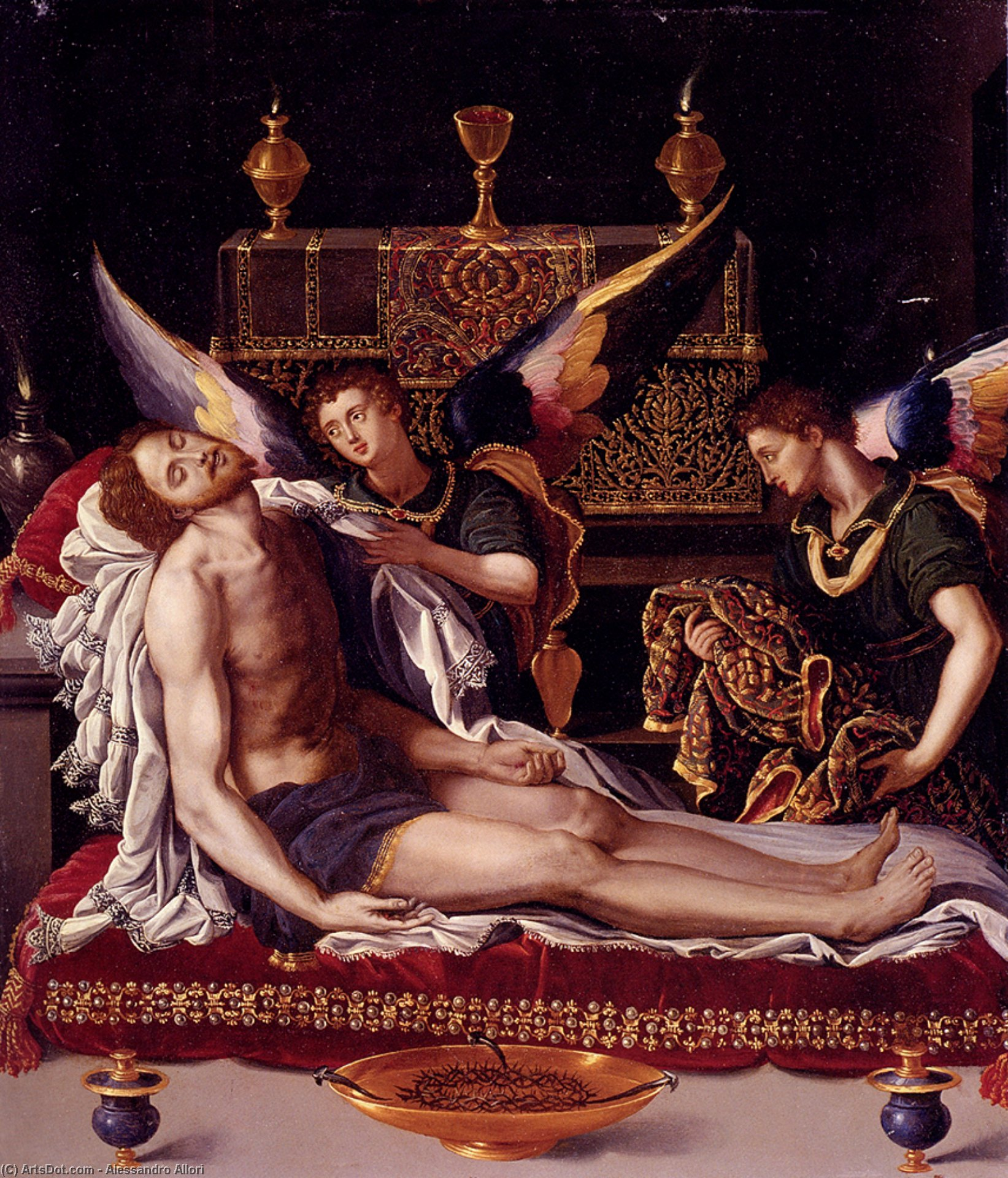 Dead christ attended by two angels by Alessandro Allori (1535-1607, Italy) | Art Reproduction | ArtsDot.com