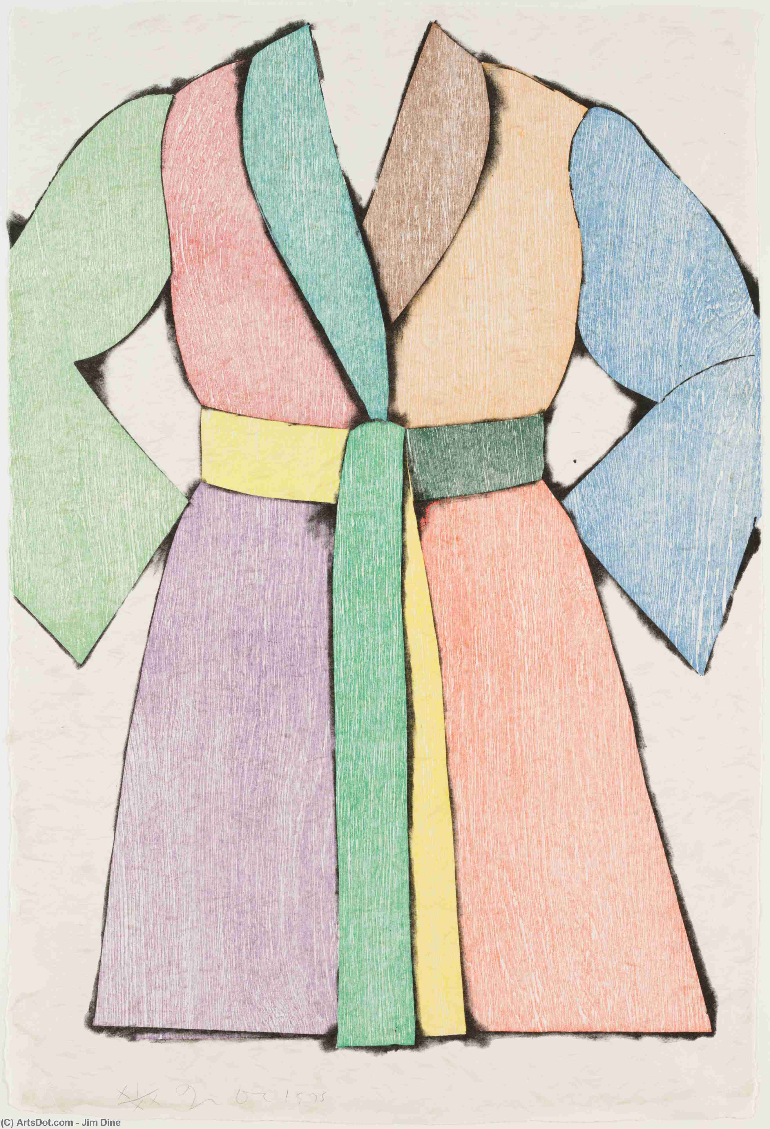 The woodcut bathrobe by Jim Dine (1935-1935, United States) | Art Reproductions Jim Dine | ArtsDot.com