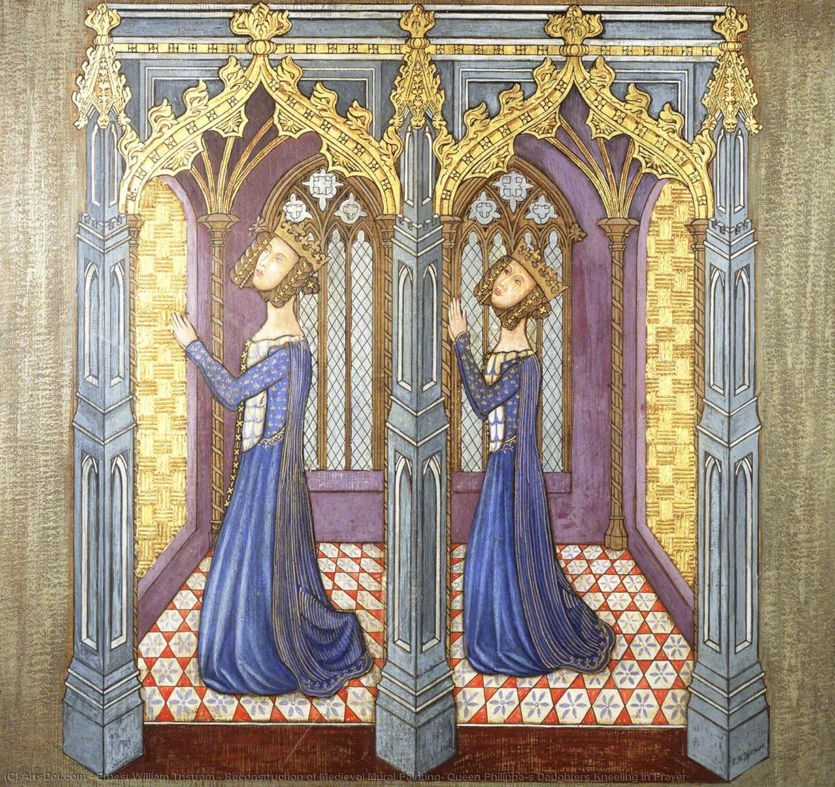 Ricostruzione Di Medievale Pittura Murale Regina Philippa S Figlie In Ginocchio Nella Preghiera 1927 Di Ernest