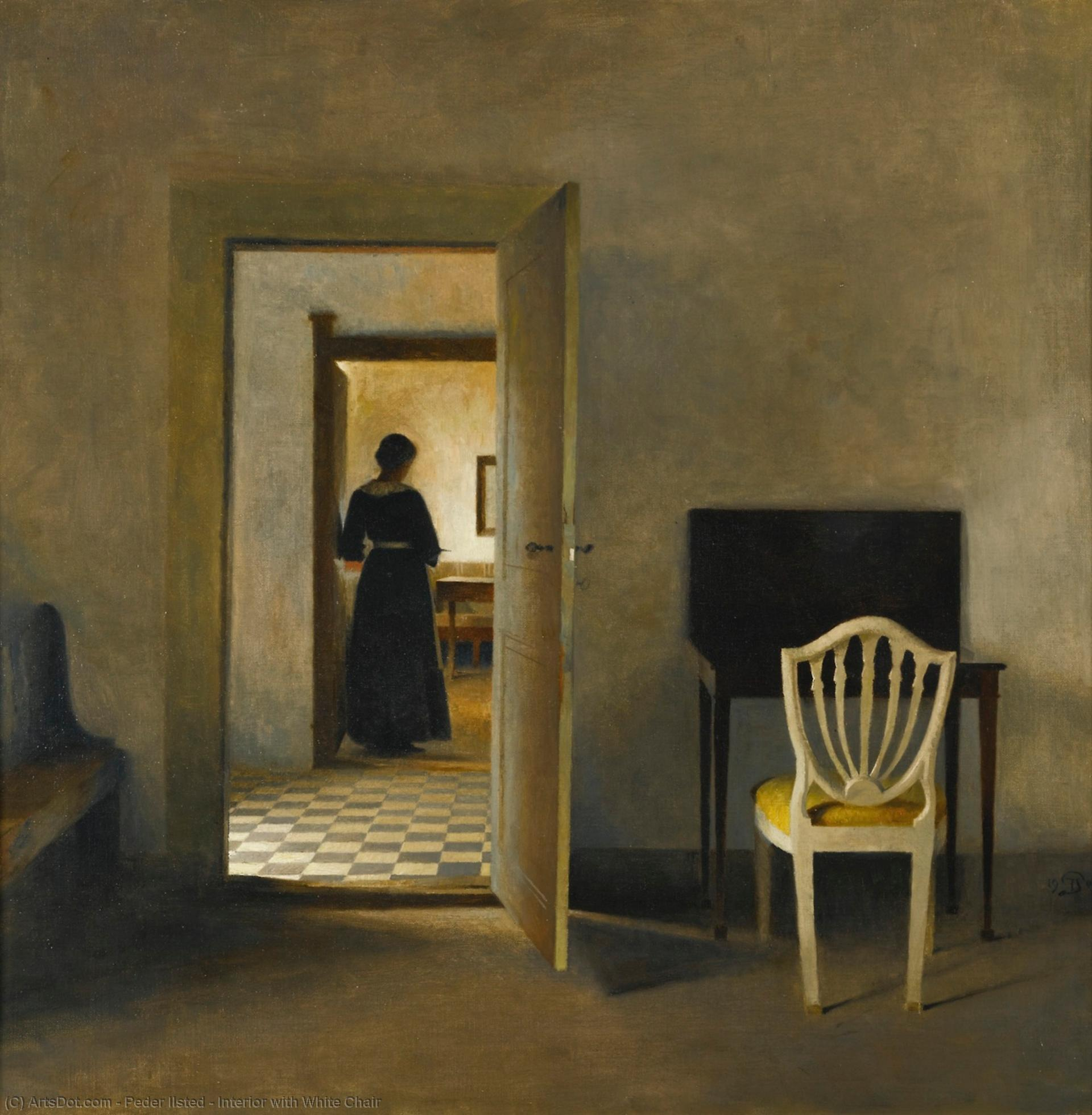 Interior with White Chair, 1907 by Peder Ilsted | Museum Art Reproductions Peder Ilsted | ArtsDot.com