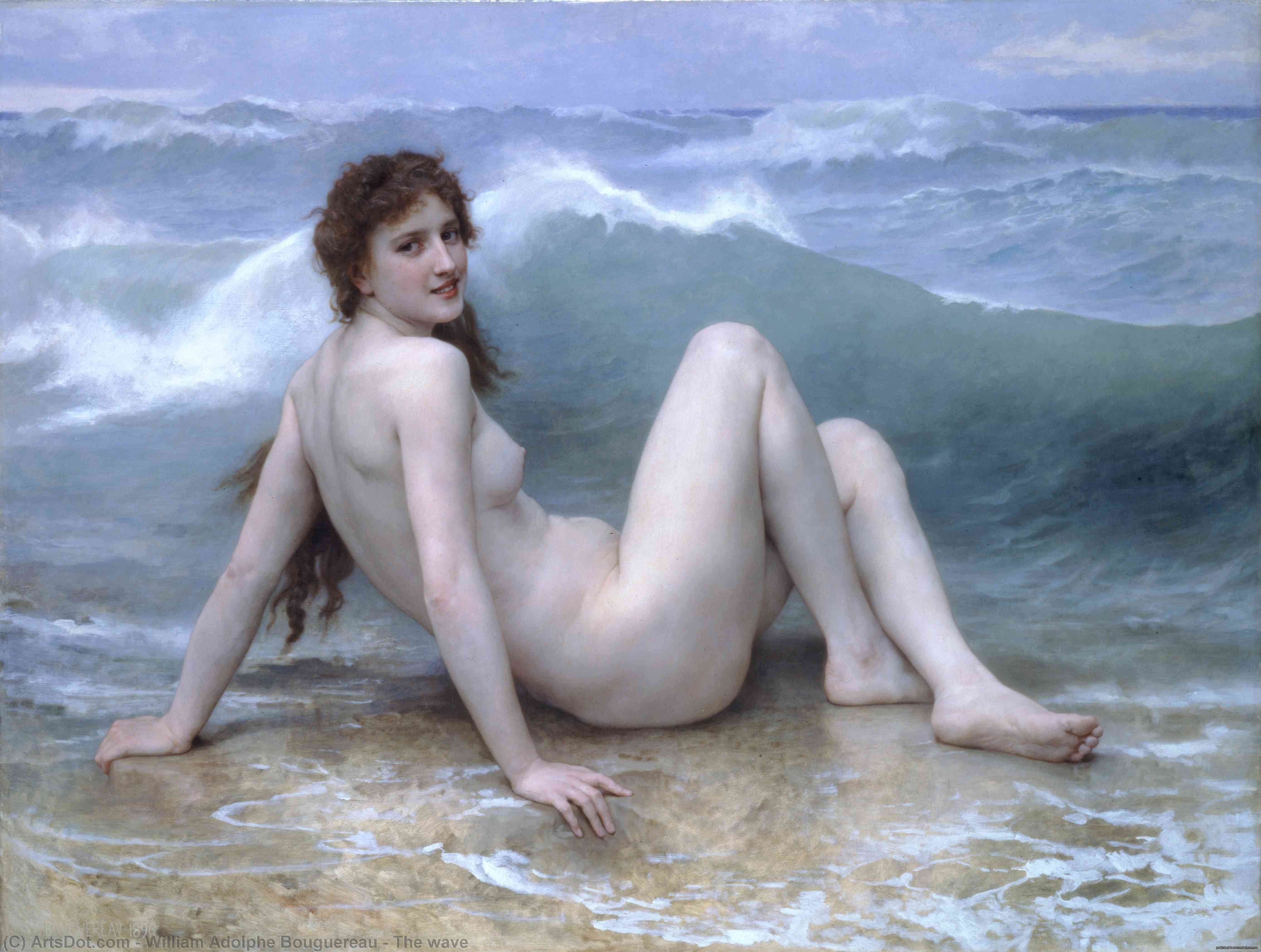 The wave, 1896 by William Adolphe Bouguereau (1825-1905, France) | Art Reproductions William Adolphe Bouguereau | ArtsDot.com
