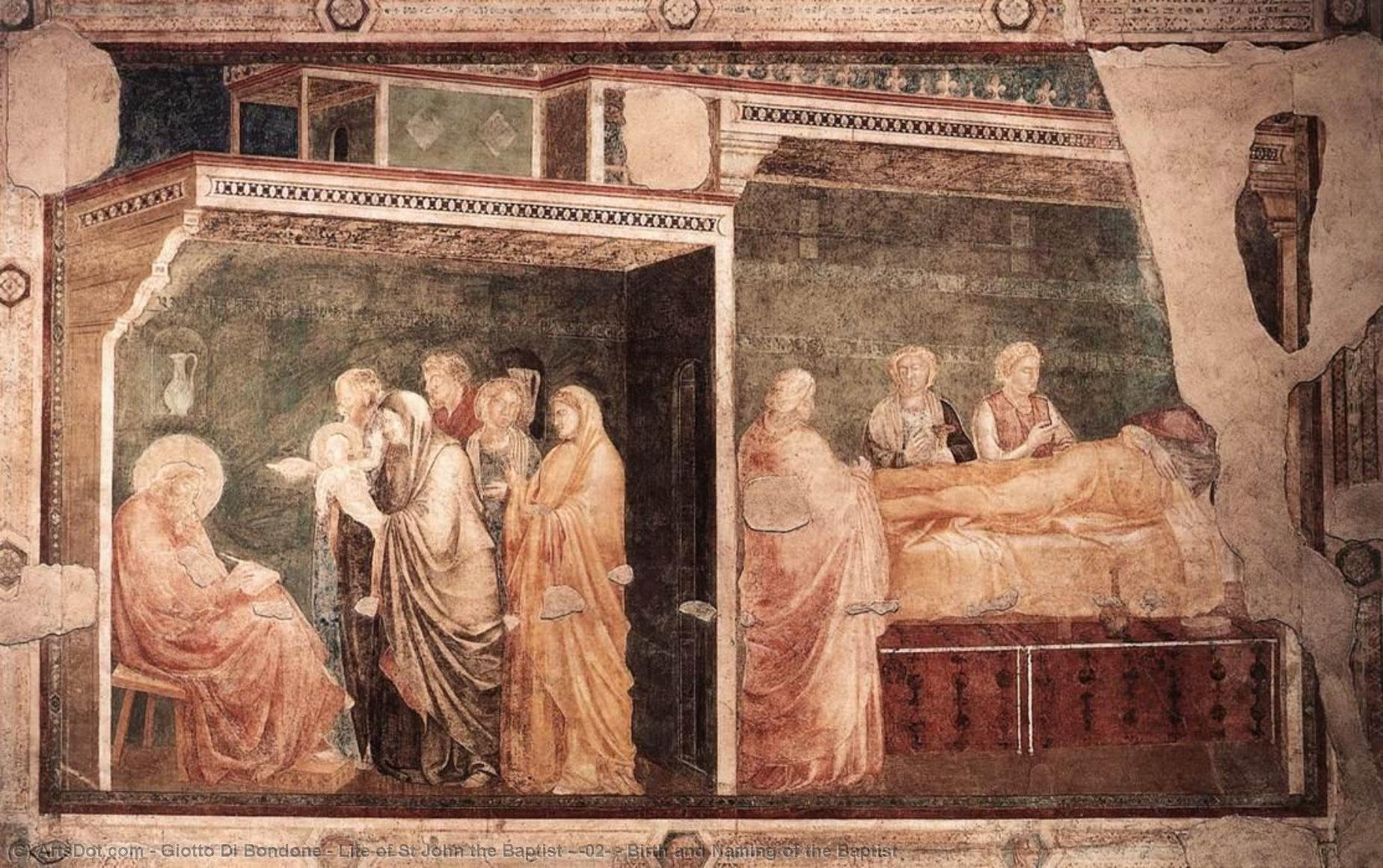 Life of St John the Baptist - [02] - Birth and Naming of the Baptist by Giotto Di Bondone (1267-1337, Italy) | Museum Art Reproductions Giotto Di Bondone | ArtsDot.com