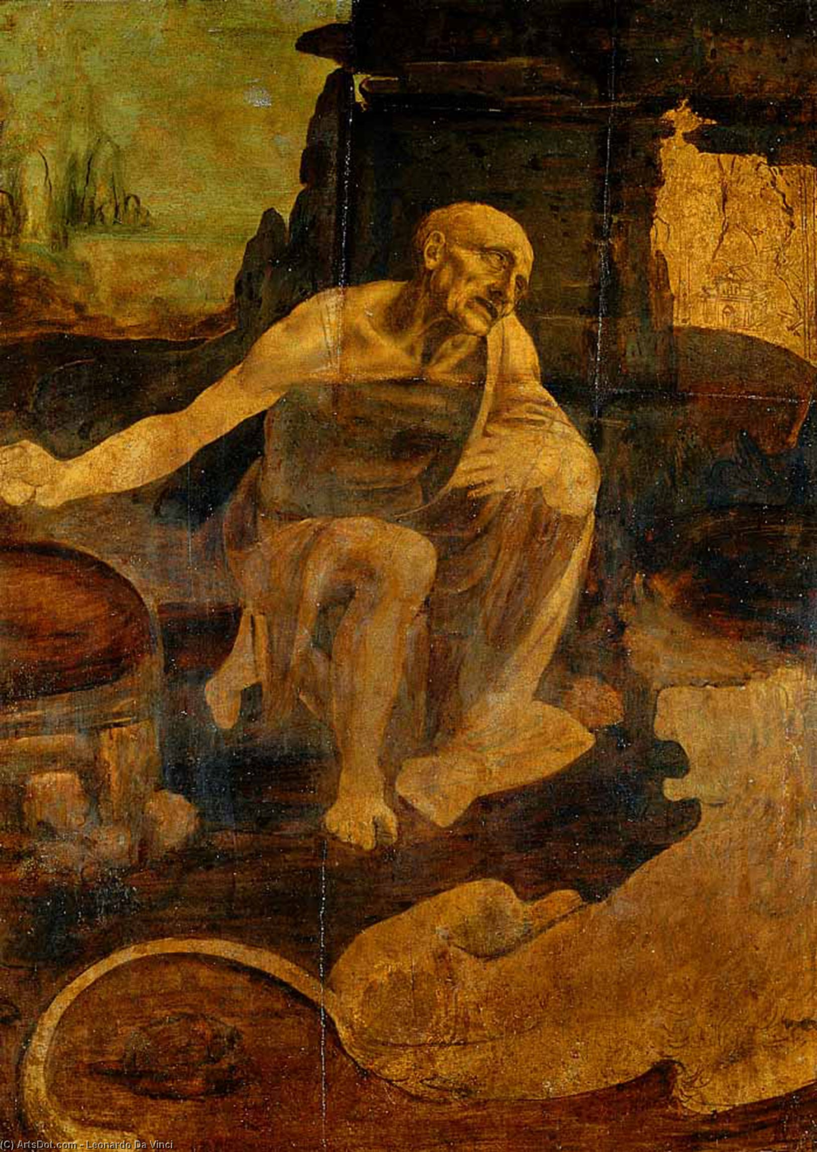 St Jerome in the Wilderness, 1480 by Leonardo Da Vinci (1452-1519, Italy) | Paintings Reproductions Leonardo Da Vinci | ArtsDot.com