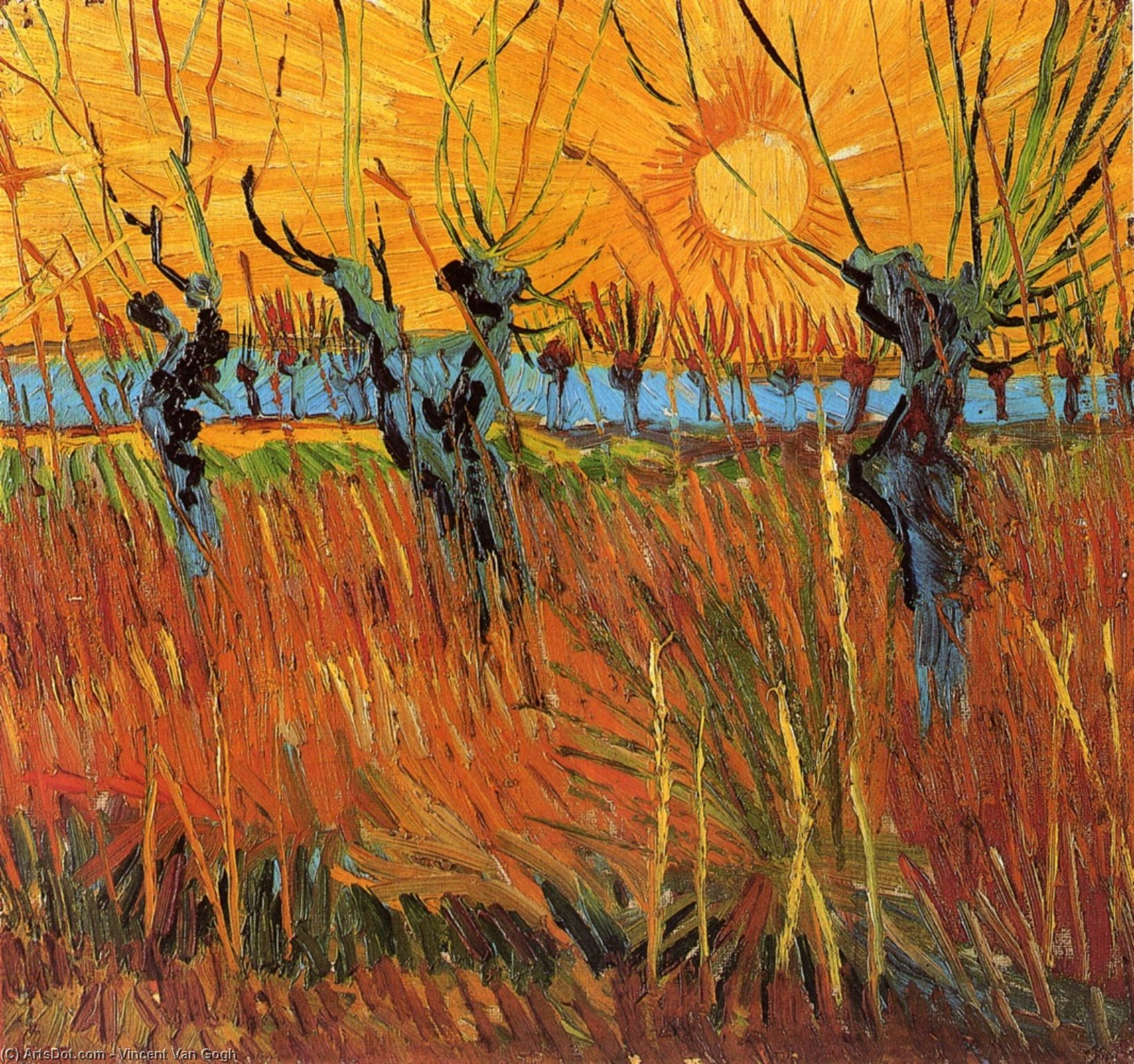 Willows at Sunset, 1888 by Vincent Van Gogh (1853-1890, Netherlands) | Paintings Reproductions Vincent Van Gogh | ArtsDot.com