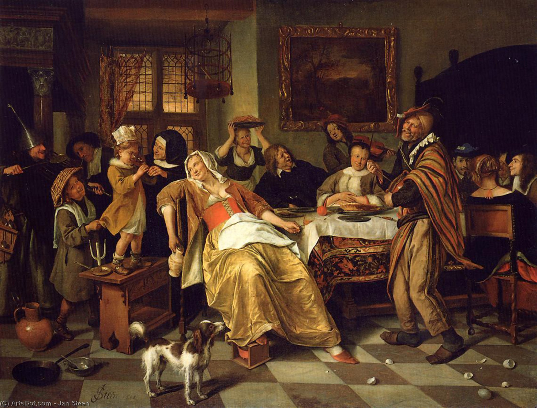 Twelfth Night, 1668 by Jan Steen (1626-1679, Netherlands) | Museum Art Reproductions | ArtsDot.com