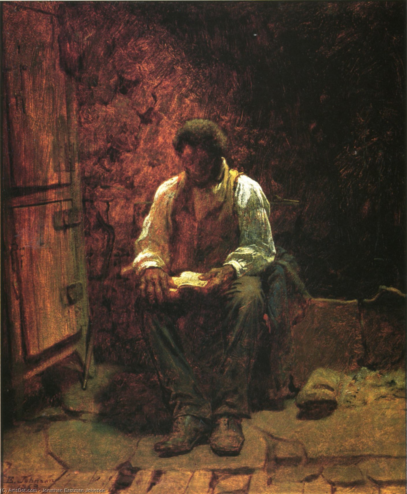 The Chimney Corner, 1863 by Jonathan Eastman Johnson (1824-1906, United Kingdom) | Museum Art Reproductions | ArtsDot.com