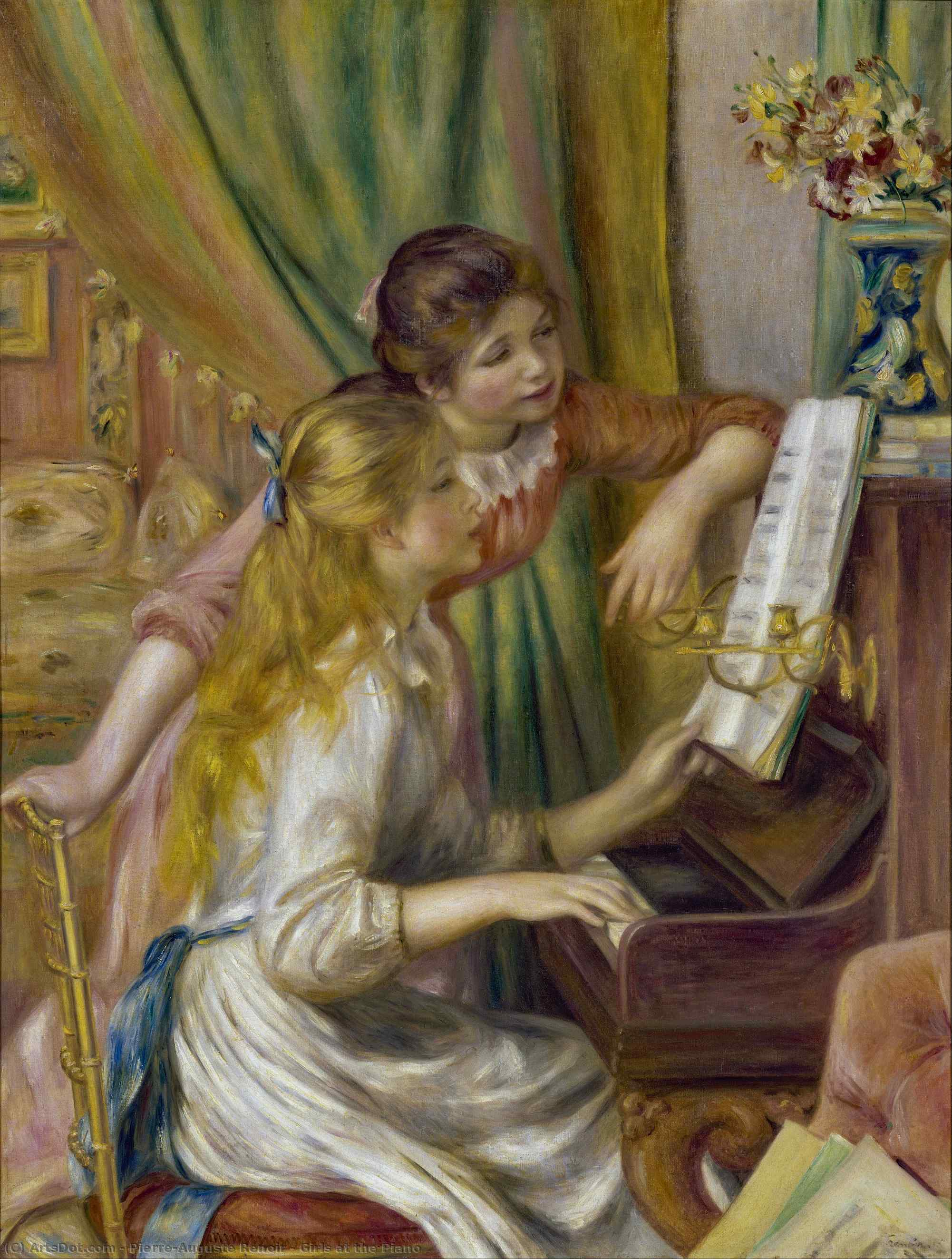 Girls at the Piano, 1892 by Pierre-Auguste Renoir (1841-1919, France) | Art Reproduction | ArtsDot.com