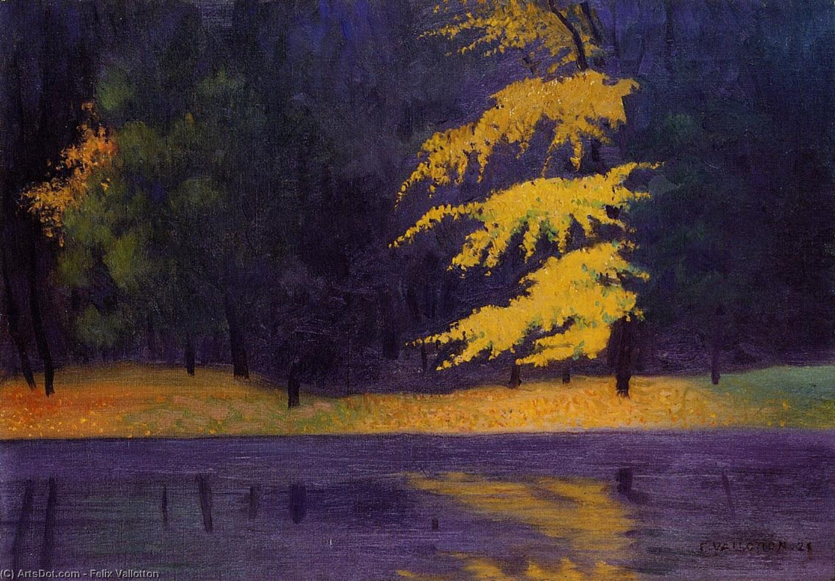 The Lake in the Bois de Boulogne, 1921 by Felix Vallotton (1865-1925, Switzerland) | Oil Painting | ArtsDot.com