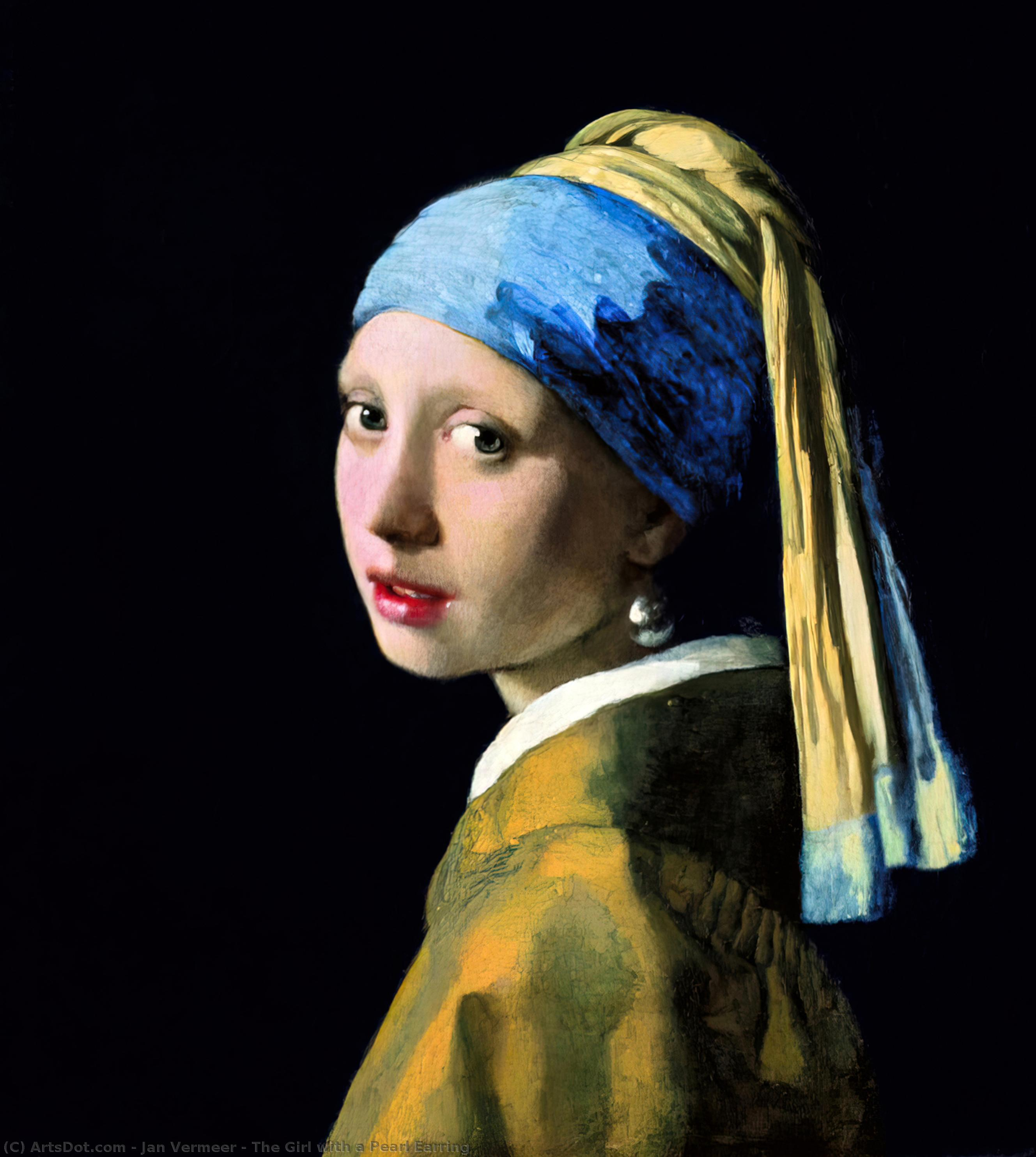 The Girl with a Pearl Earring, 1665 by Jan Vermeer (1632-1675, Netherlands) | Painting Copy | ArtsDot.com