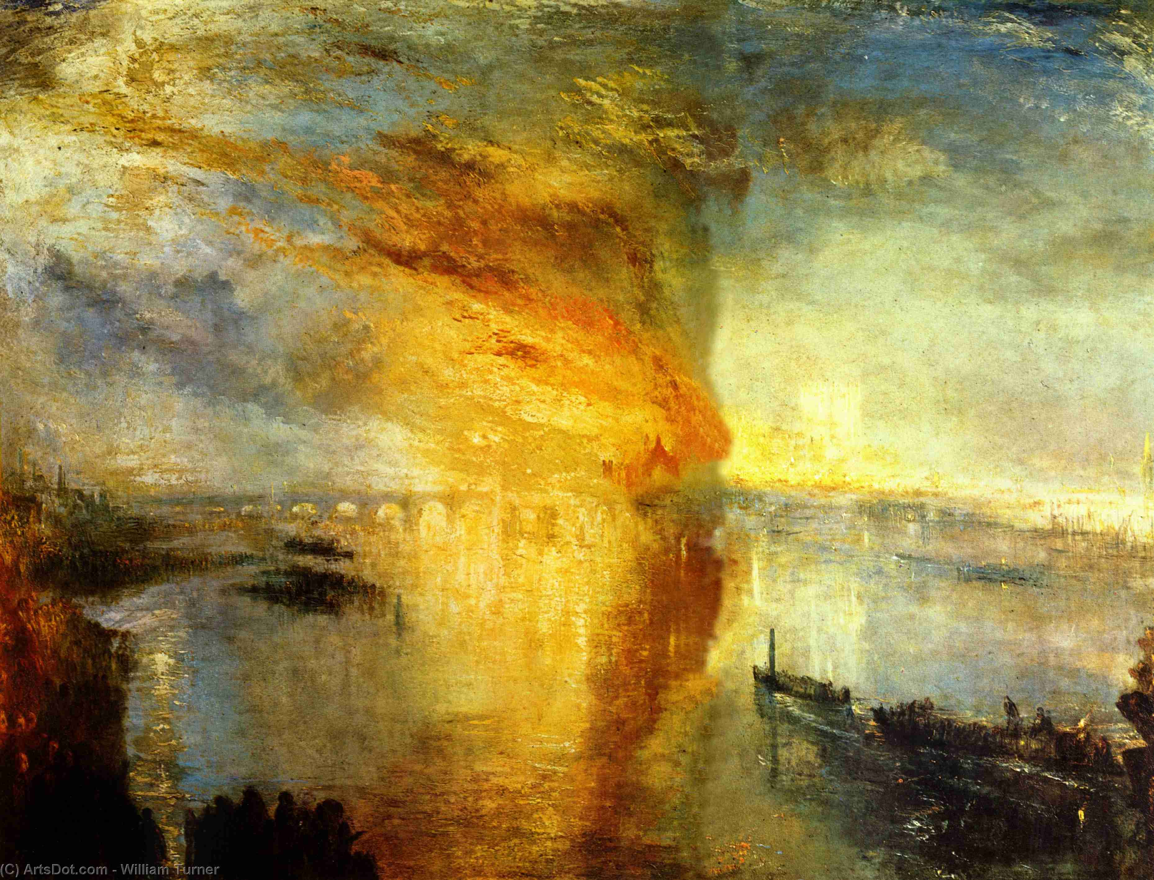 The Burning of the Houses of Parliament, 1835 by William Turner (1775-1851, United Kingdom) | Museum Art Reproductions William Turner | ArtsDot.com