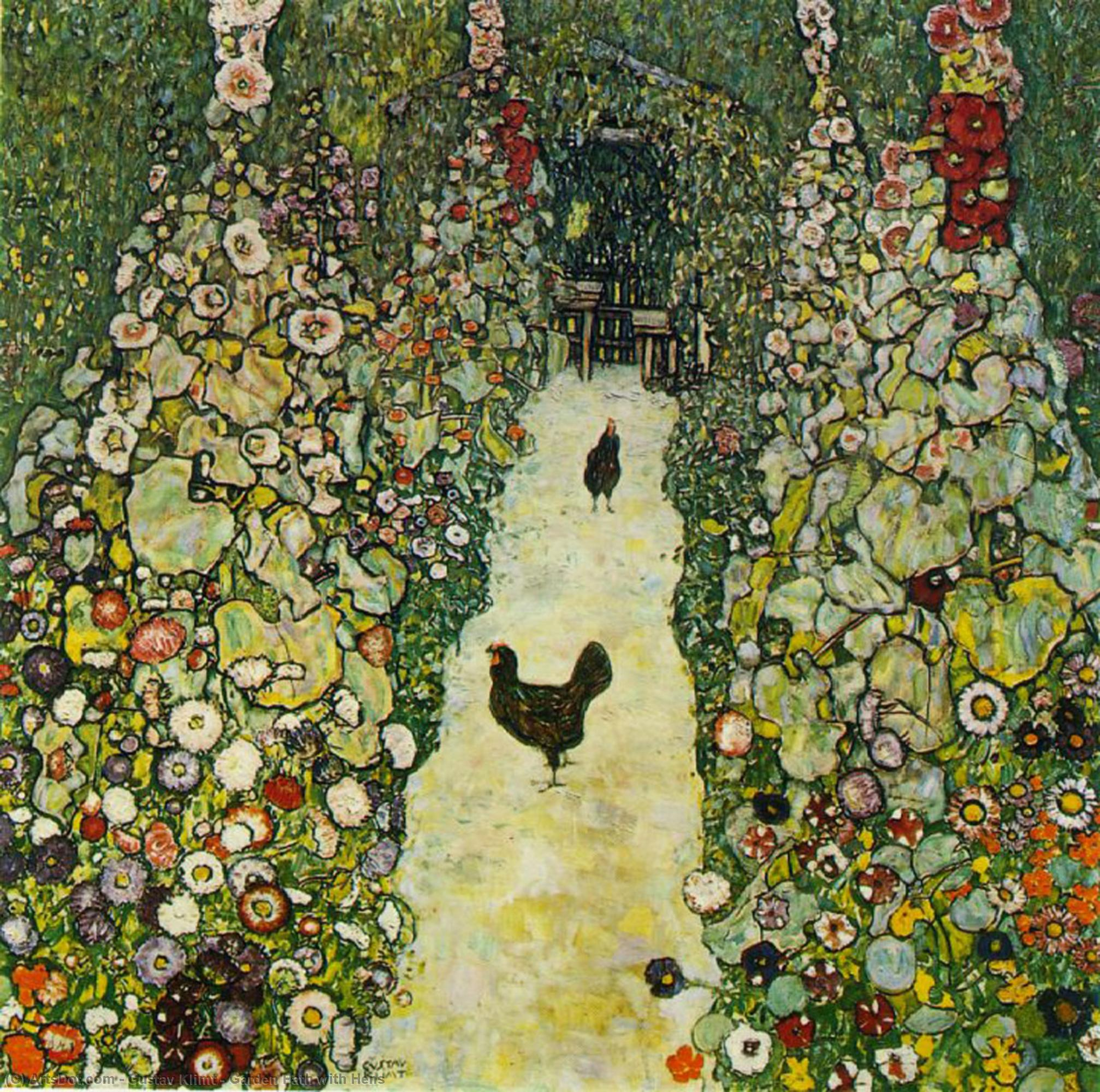 Garden Path with Hens by Gustav Klimt (1862-1918, Austria) | Museum Art Reproductions | ArtsDot.com