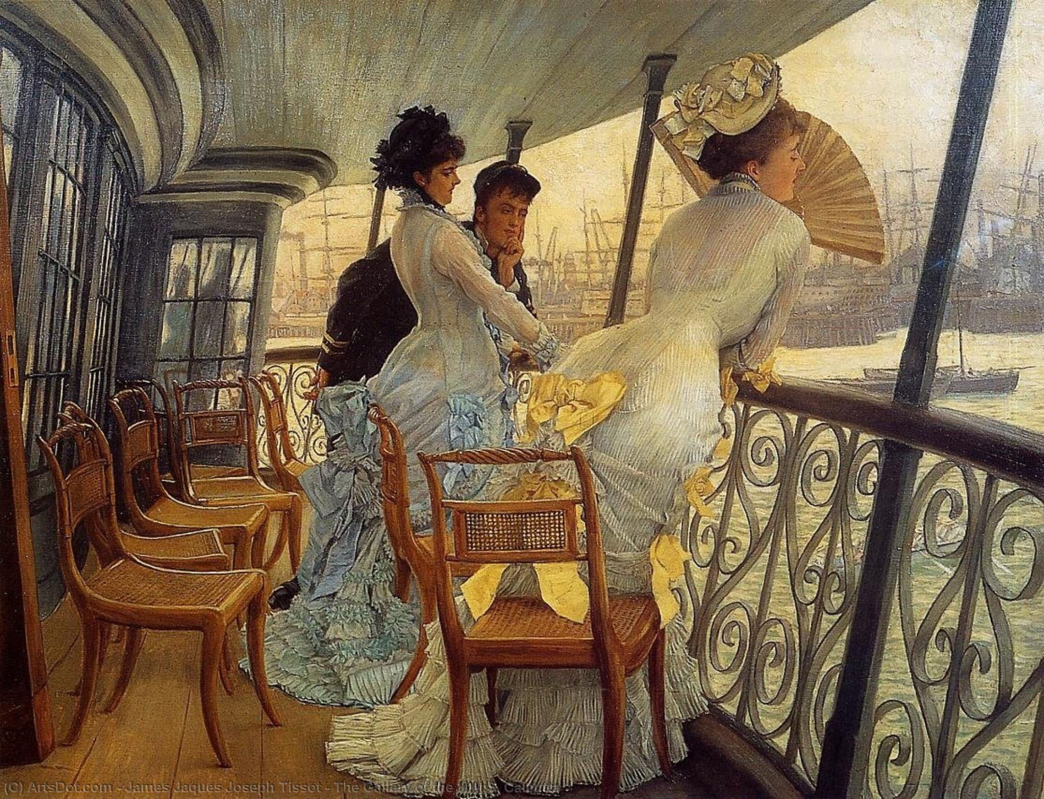 The Gallery of the H.M.S. Calcutta, 1877 by James Jaques Joseph Tissot (1836-1902, France) | Museum Art Reproductions James Jaques Joseph Tissot | ArtsDot.com